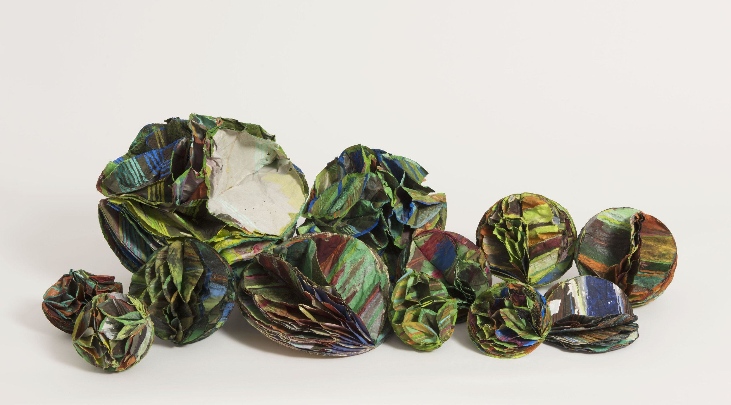 Strange vegetable.  2015. gouache and acrylic on honeycomb paper spheres. dimensions variable. NFS.