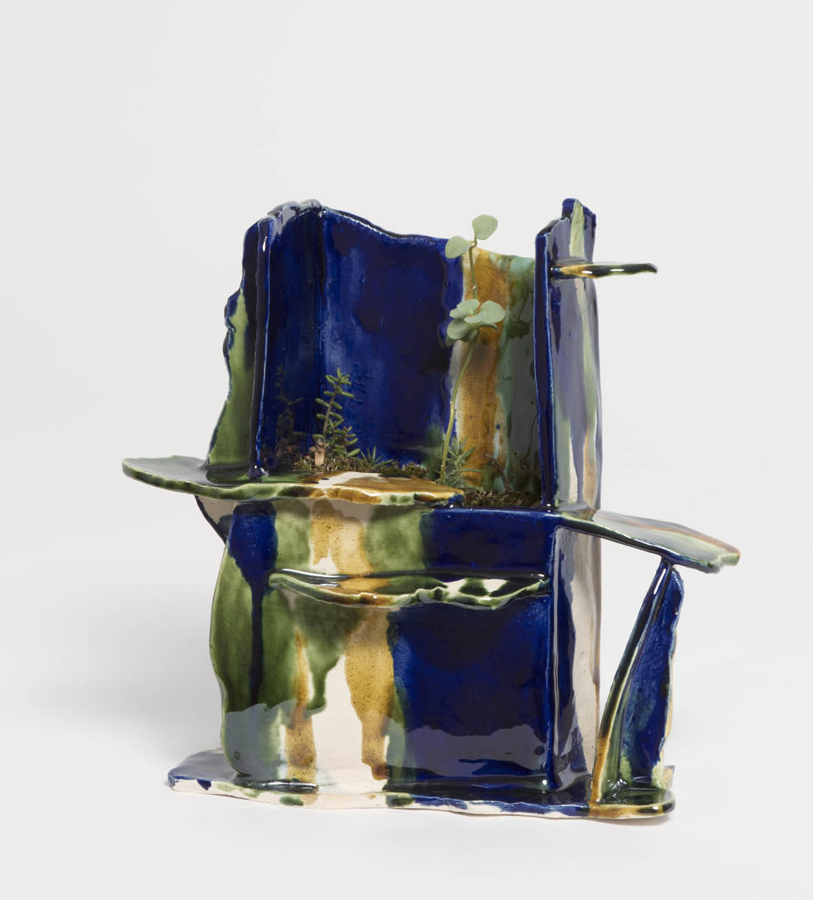 High garden in Cobalt blue, 2016, earthenware, glazed ceramic, 18 x 8 x 21 cm.SOLD