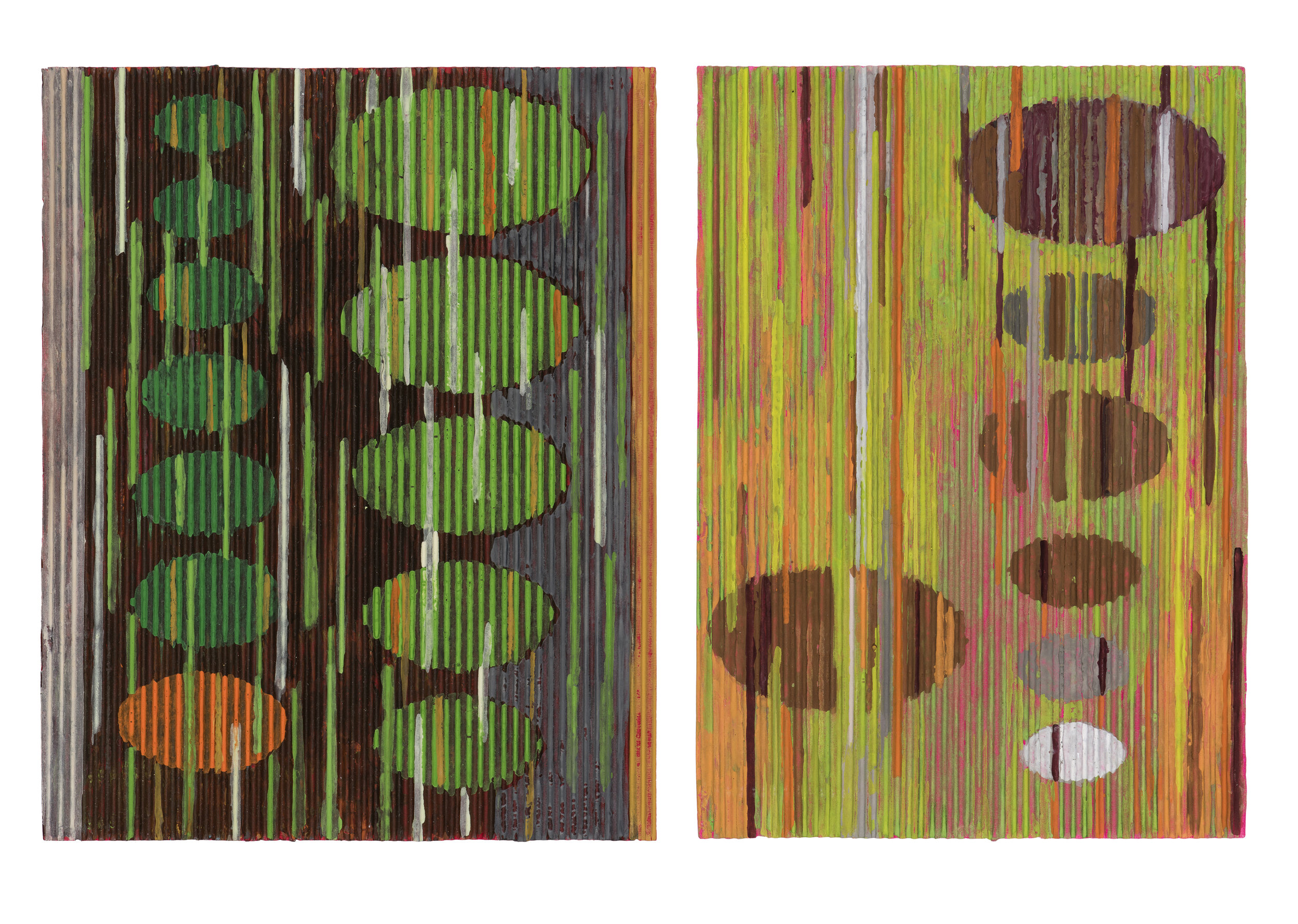 Ellipses in green and orange.2015 Gouache on corrugated card. 33 x 43 cm. SOLD