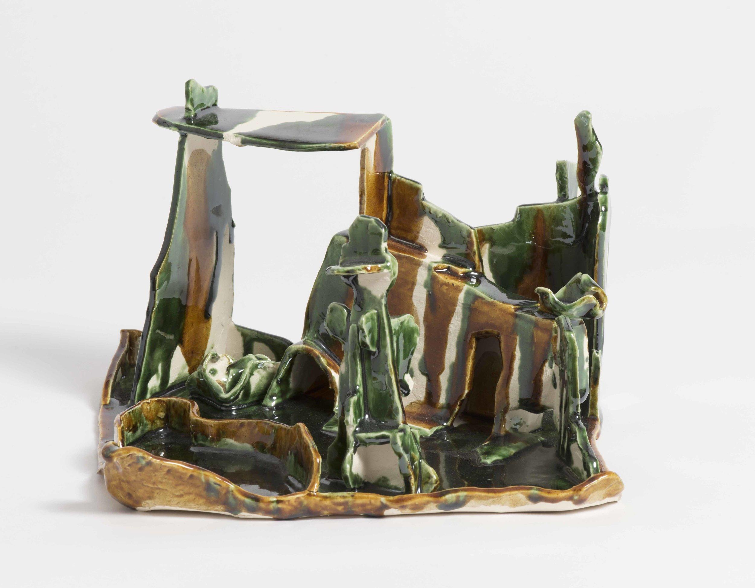 Green garden with pond.2016. Earthen ware glazed ceramic. 22x 21x15 cm.$750