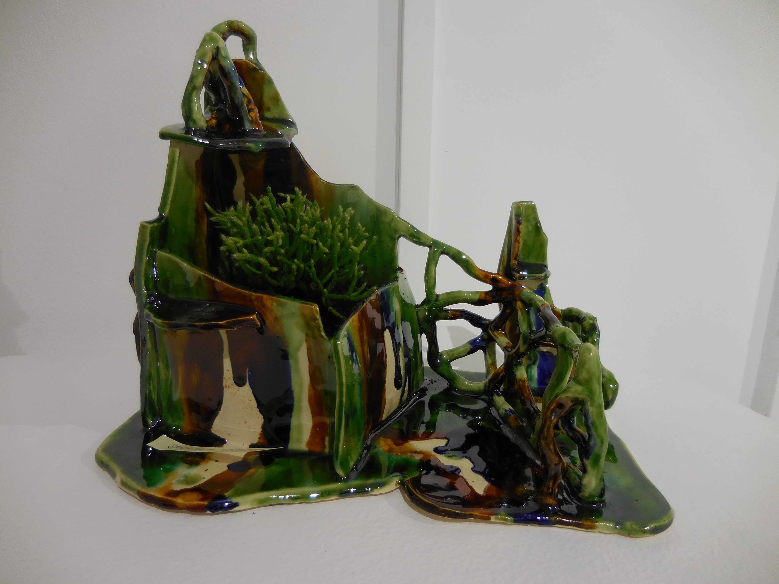 Sancai in green, amber and cobalt. 2017.  Earthenware, glazed ceramic, 25 x15 x 21 cm SOLD