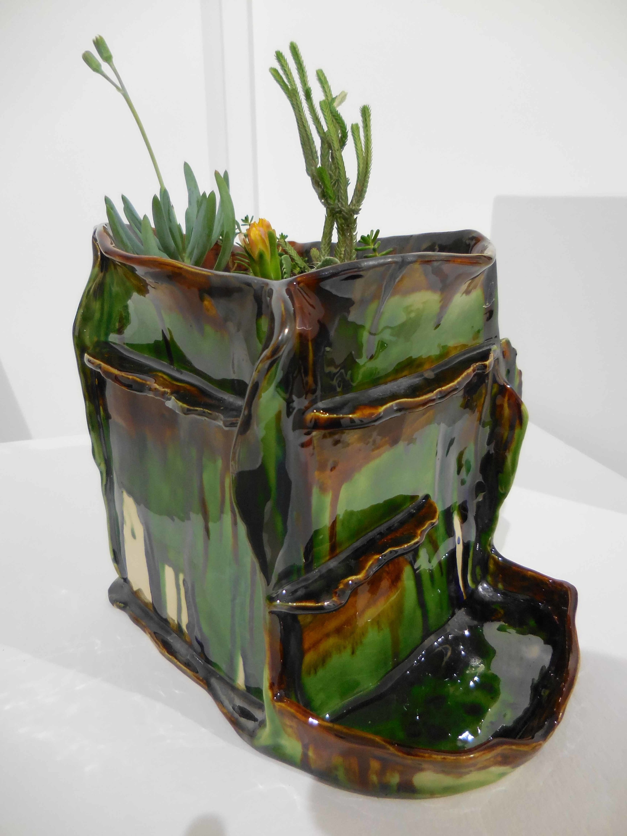 Succulent planter with pond, 2017.  Earthenware, glazed ceramic. 19 x 17 x 19 cm $750