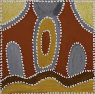 Phyllis Thomas, Booljoonngali. 2014. Natural ochres and pigments on canvas. 45 x 45 cm SOLD