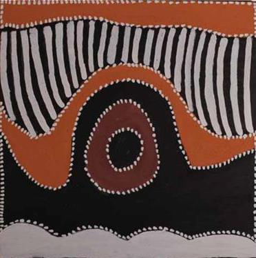 Phyllis Thomas, Booljoonngali. 2014. Natural ochres and pigments on canvas. 60 x 60 cm SOLD