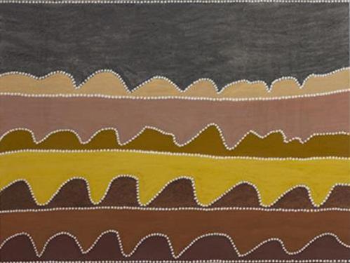 Nancy Nodea. Ngarrgurungj Hills. 2016. Natural ochres and pigments on canvas. 90 x 120 cm. SOLD