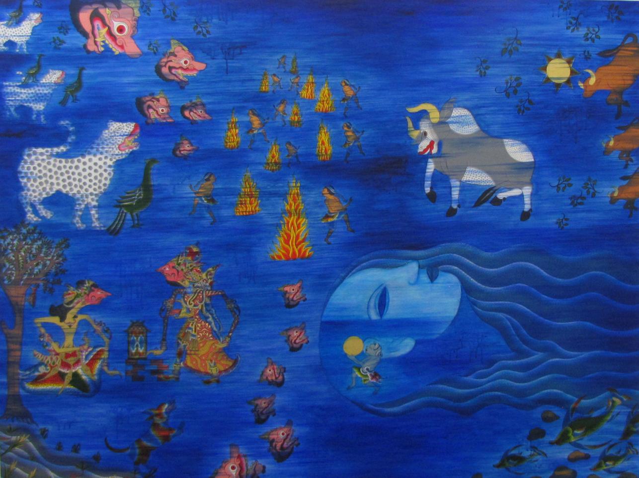 Madhesiya.  2018 Acrylic and gold paper on canvas 150 cm x 197 cm $32,000