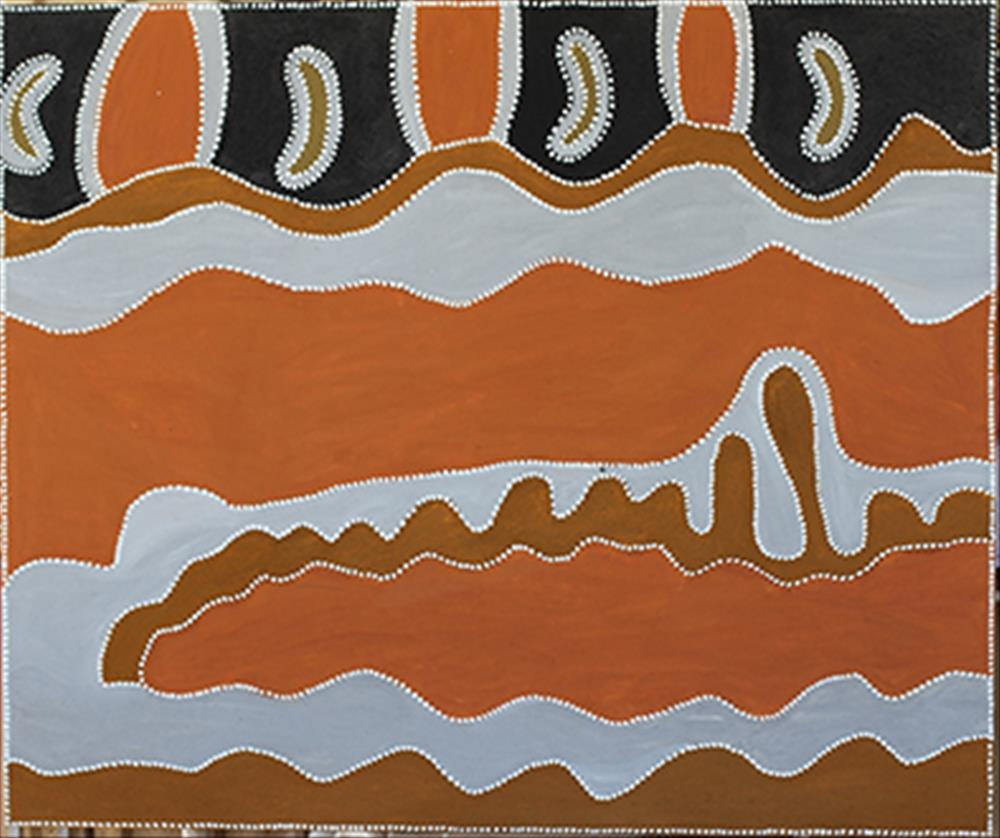 Phyllis Thomas, Purnululu  2014  natural ochre and pigment on canvas  150 x 180 cm $11,880