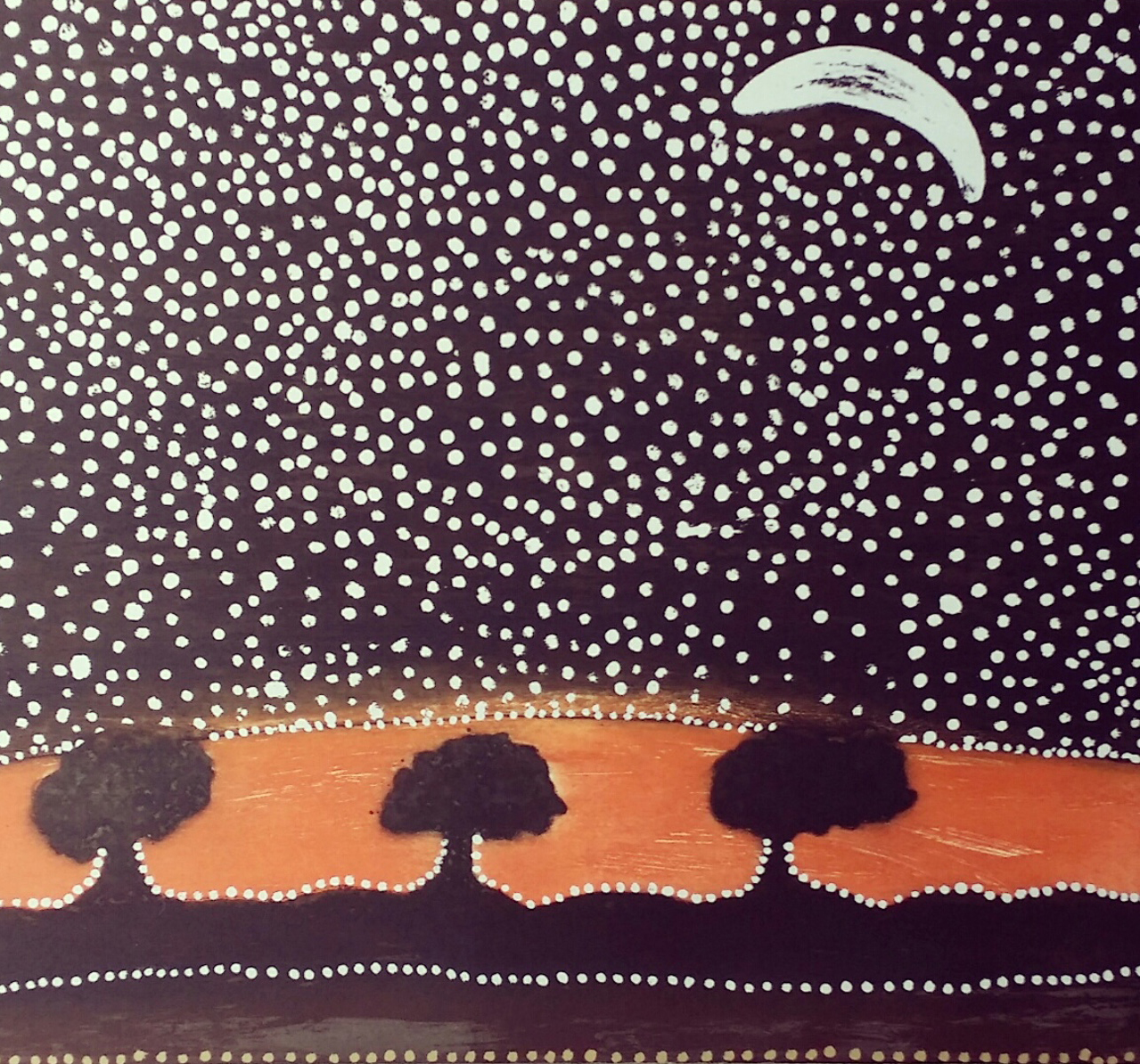 Rusty Peters, Three nyawana in Yarini country. 2018. Etching and silk screen, edition of 30. 49 x 59 cms. image size.. $900 (unframed).
