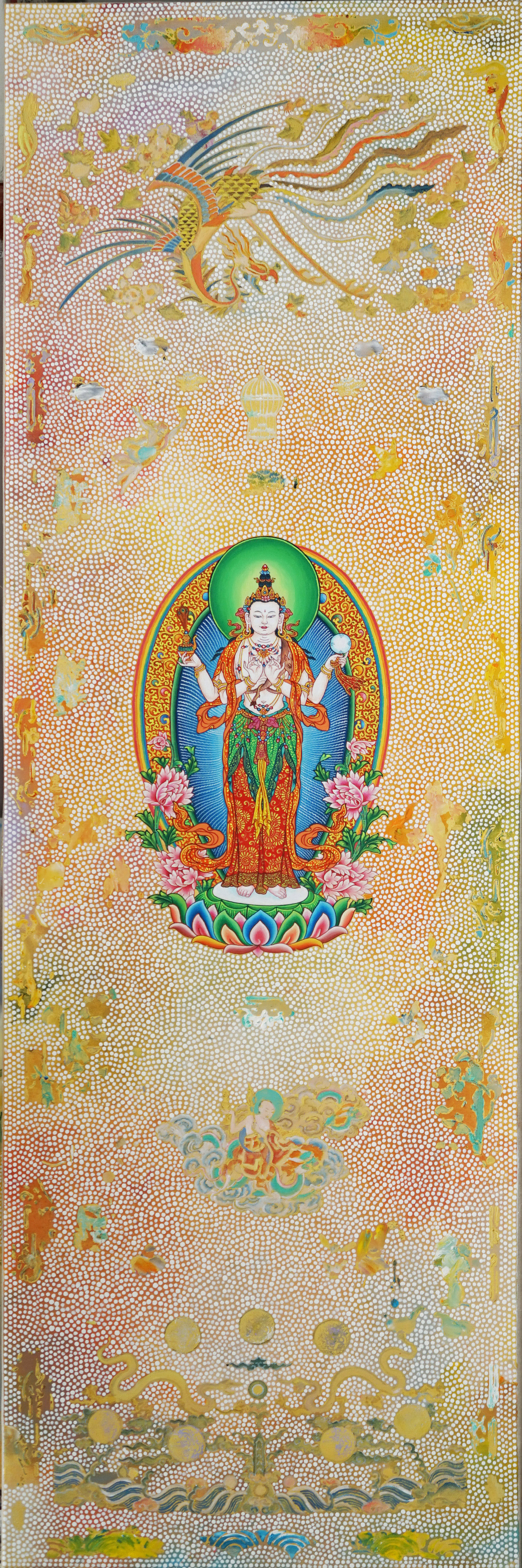 Dolma 1. 2013-18 with Karma Phuntsok. Acrylic on linen. 183 x 60 cm. $7,000