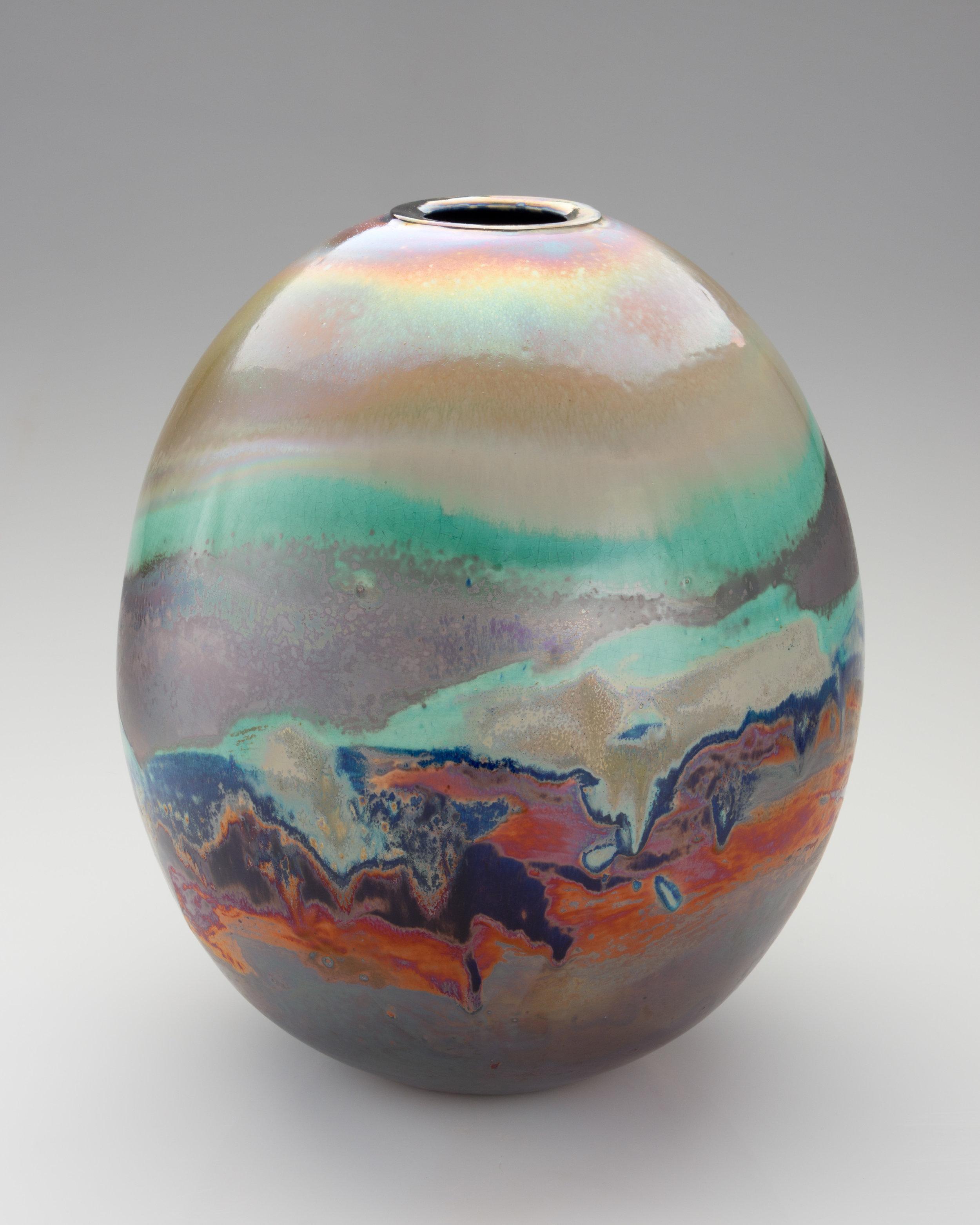 Yesterday's sky. 2018. Lustre glazed ceramic vase. 380mm H, 300mm Dia. $3,800 SOLD