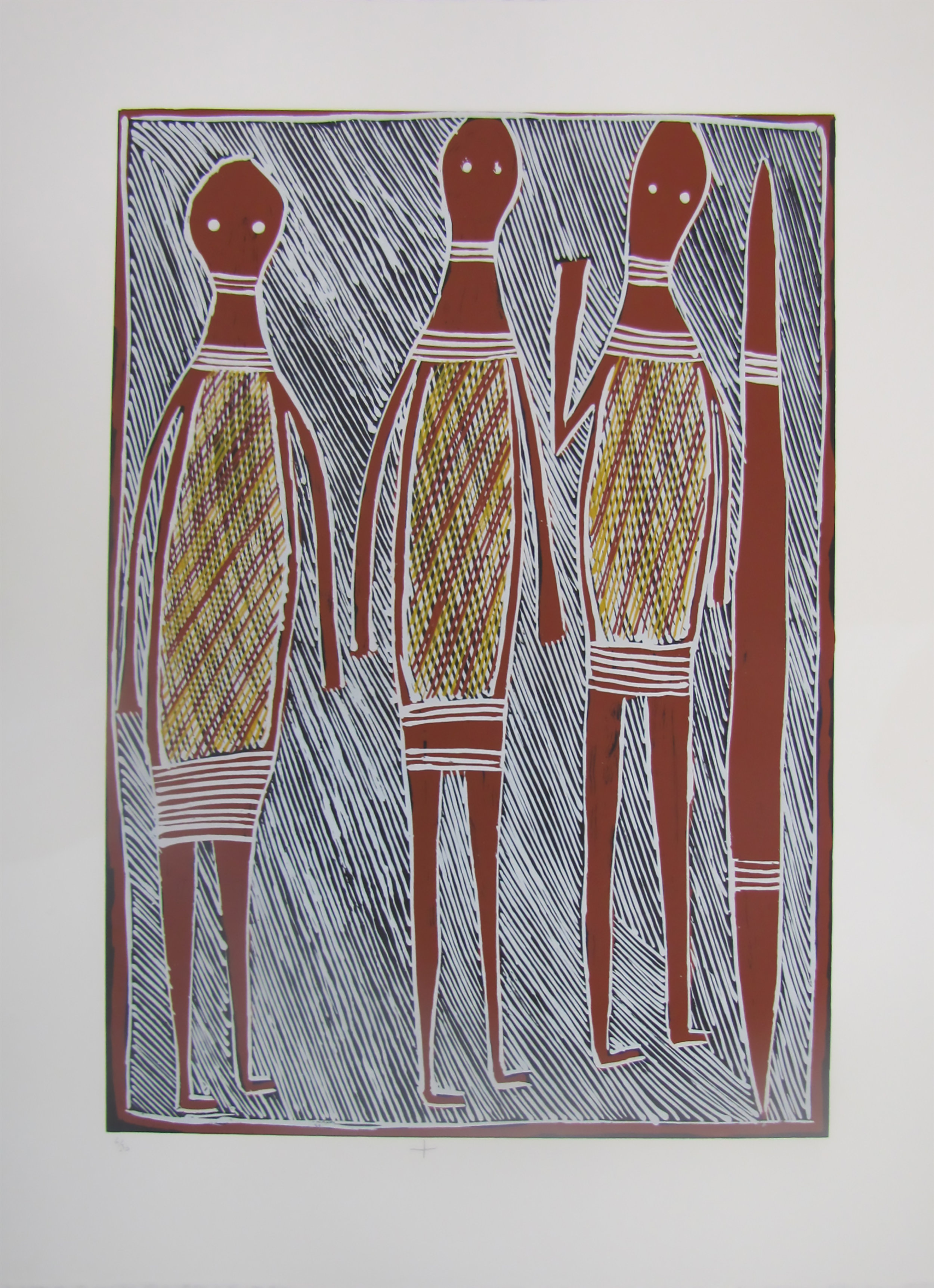 Philip Gudthaygudthay,  Wagilag Ga Wititj Dhawu. 2016  Silkscreen. Ed 9/30,  59 x 42 cm , $350 (unframed)  $550 (framed)   Editions 6/30, 7/30 & 8/30 (unframed) also available