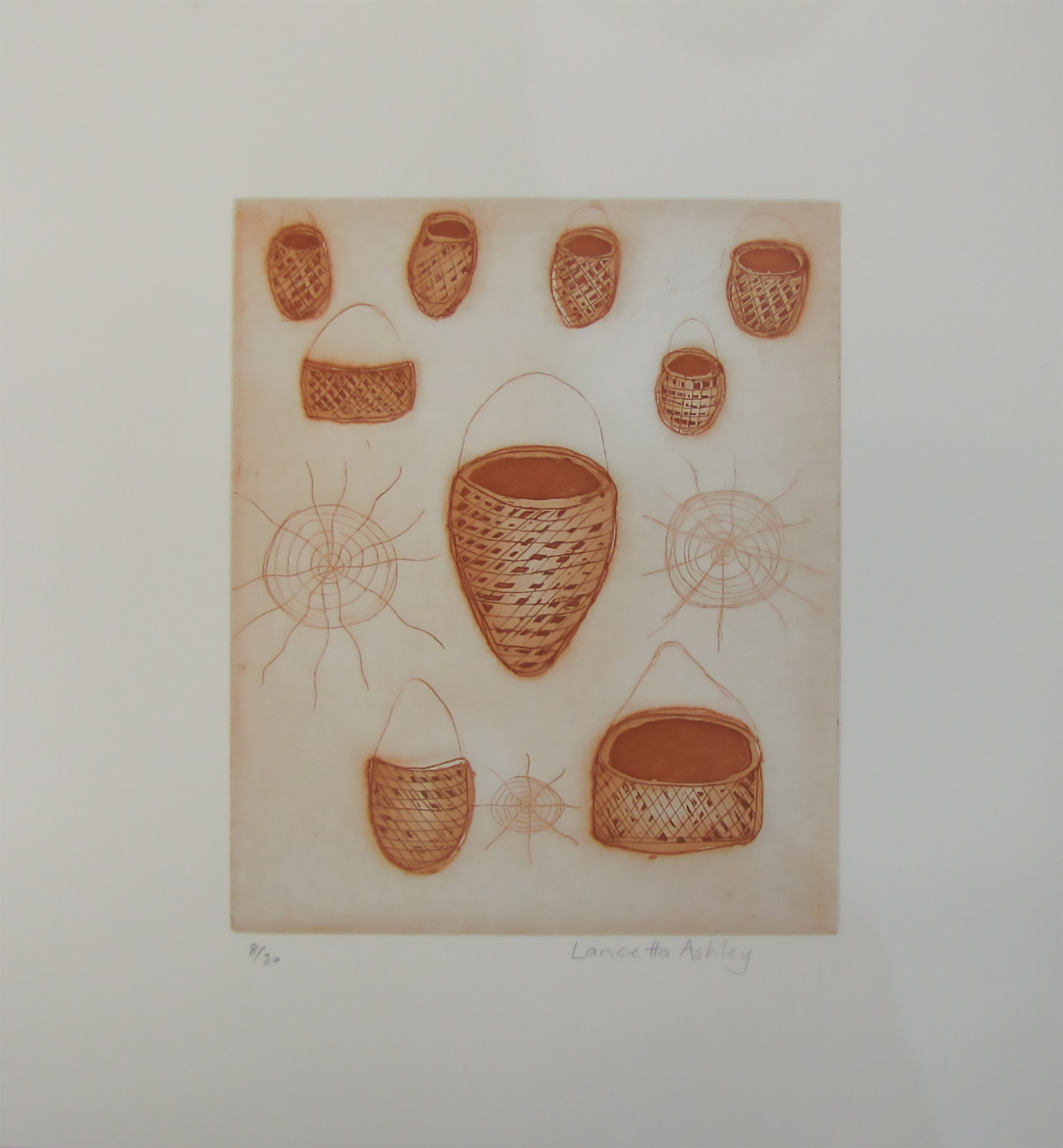 Lancetta Ashley, Baskets. 2016   Etching. Exhibition Proof   24.5 x 19.5 cm. $220 unframed   Editions 3/30, 5/30, 6/30 & 8/30 (unframed) also available