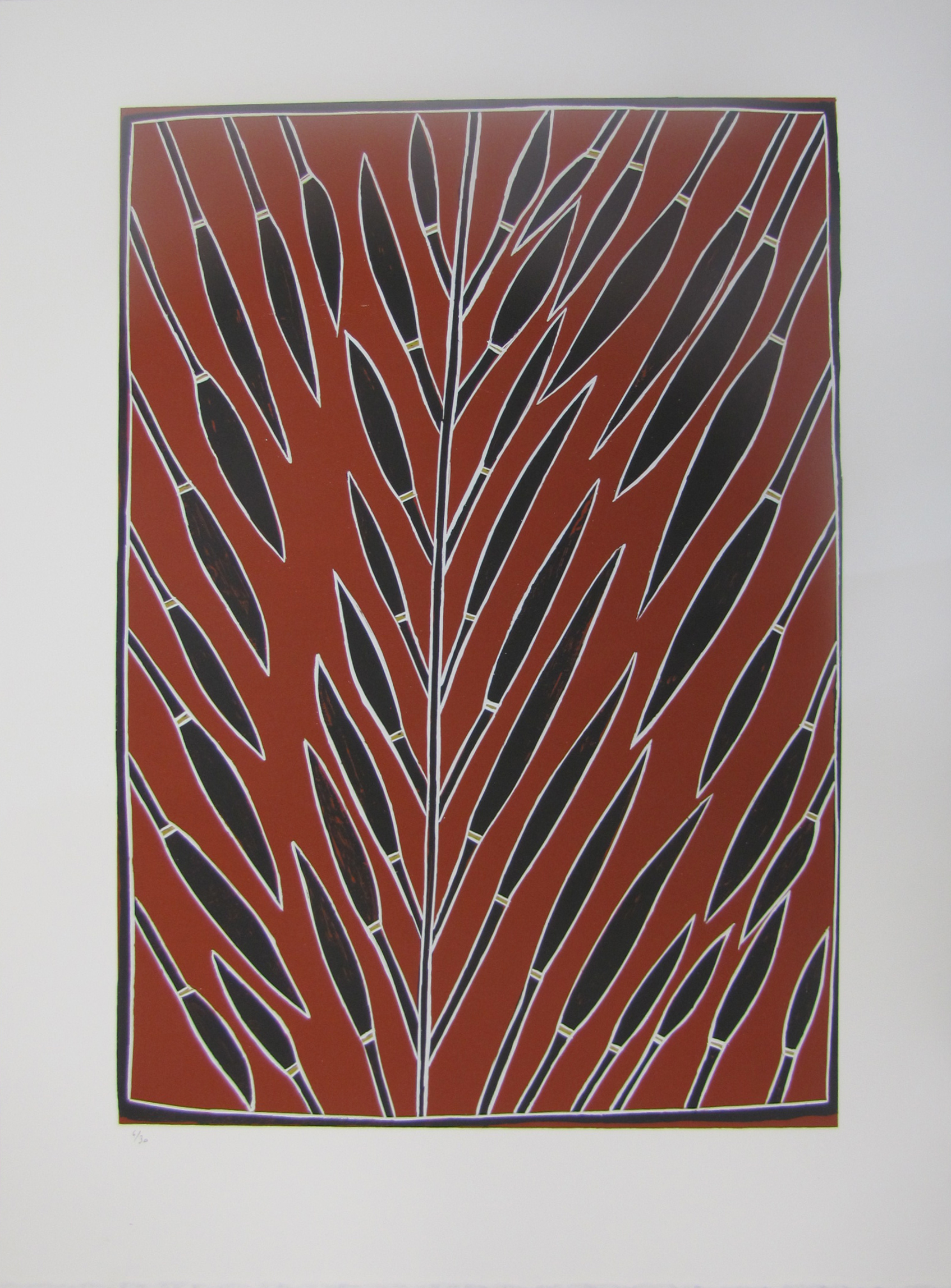 Peter Mingululu, Stringy Bark Tree. 2016  Silkscreen. Ed 5 /30 59.5 x 42 cm $350 (unframed)  $550 (framed)   Editions 6/30, 7/30 & 8/30 (unframed) also available