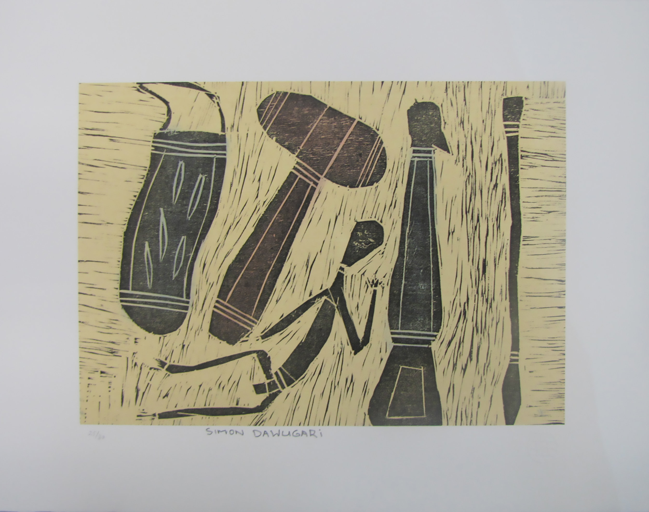 Simon Ashley, Tools and Figures. 2013   Woodcut. Exhibition Proof   21 x 30 cm  $220 unframed    Editions 24/30, 25/30, 27/30 & 28/30 (unframed) also available