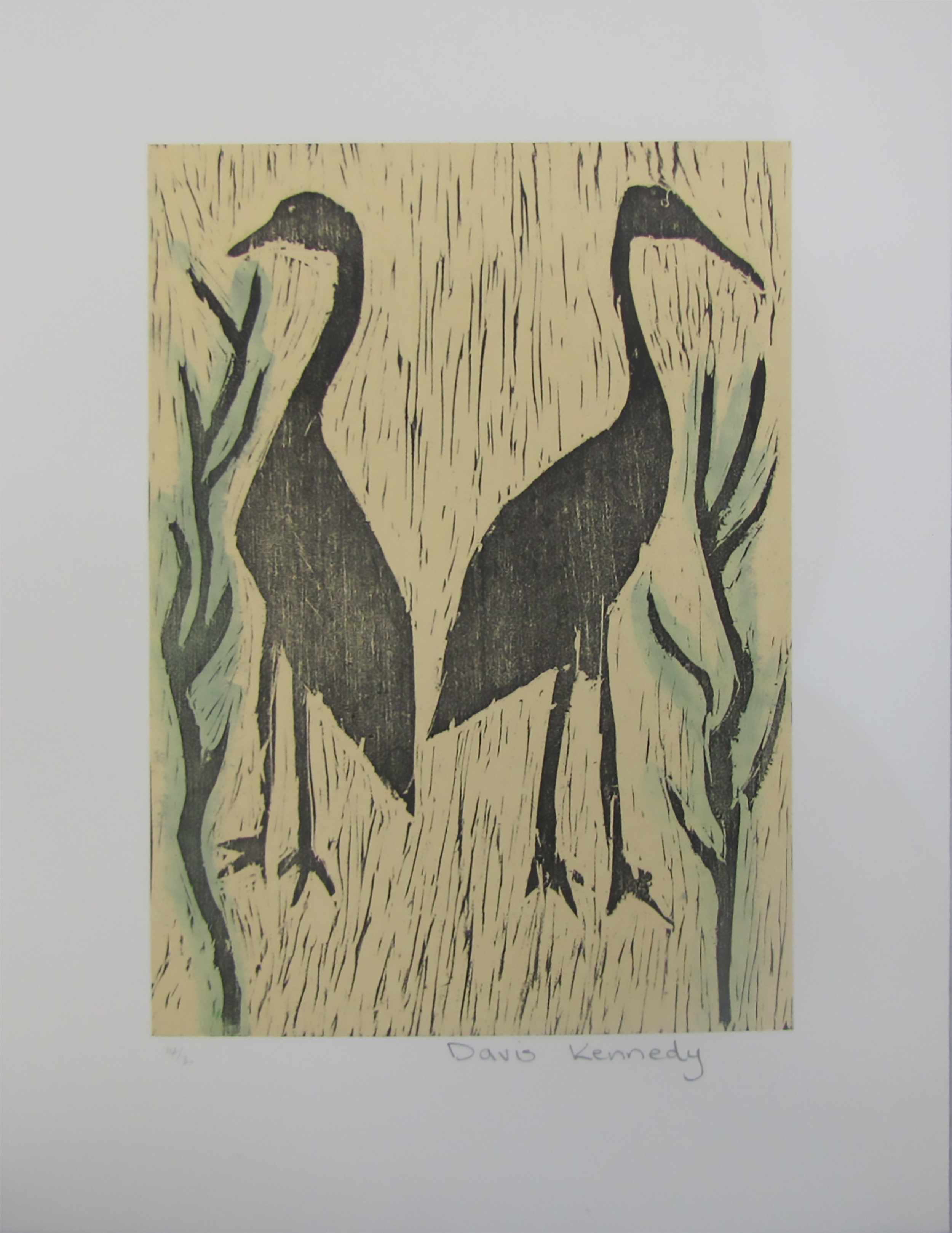 Davis Kennedy, Birds. 2013 Woodcut. Exhibition Proof   30 x 21 cm. $220 unframed.  Editions 12/30, 13/30, 14/30 & 16/30 (unframed) available