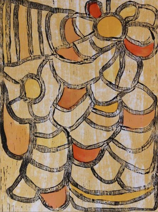Maisie King, Rukuringanyi Ngura. 2014   Woodblock. Ed 1/10  40 x 30 cm.  $280 (unframed) $480 (framed)