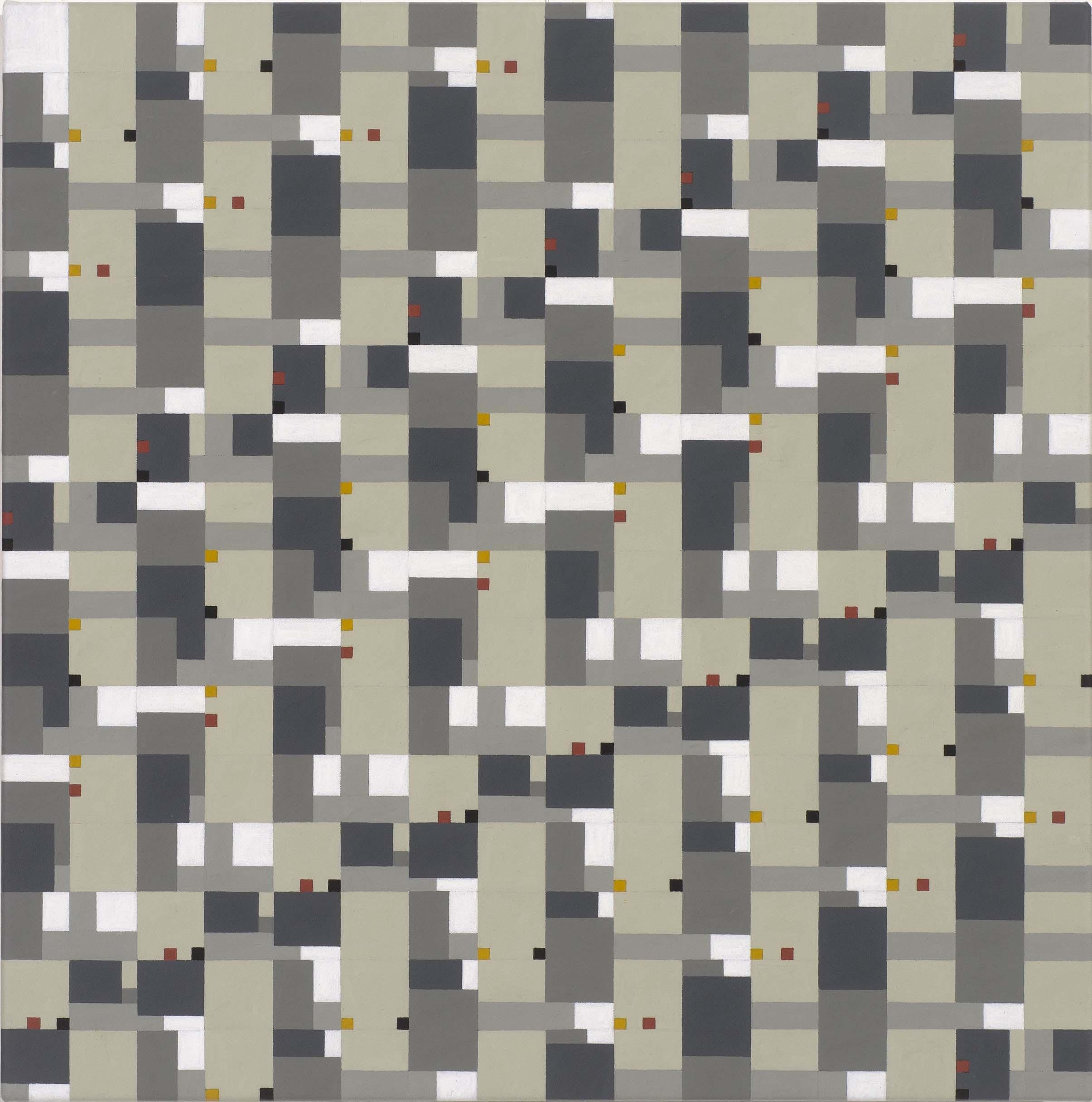 (2,3,5) x 17 Rotations + 2, acrylic on canvas, 41 x 41cm, 2017. $2,750