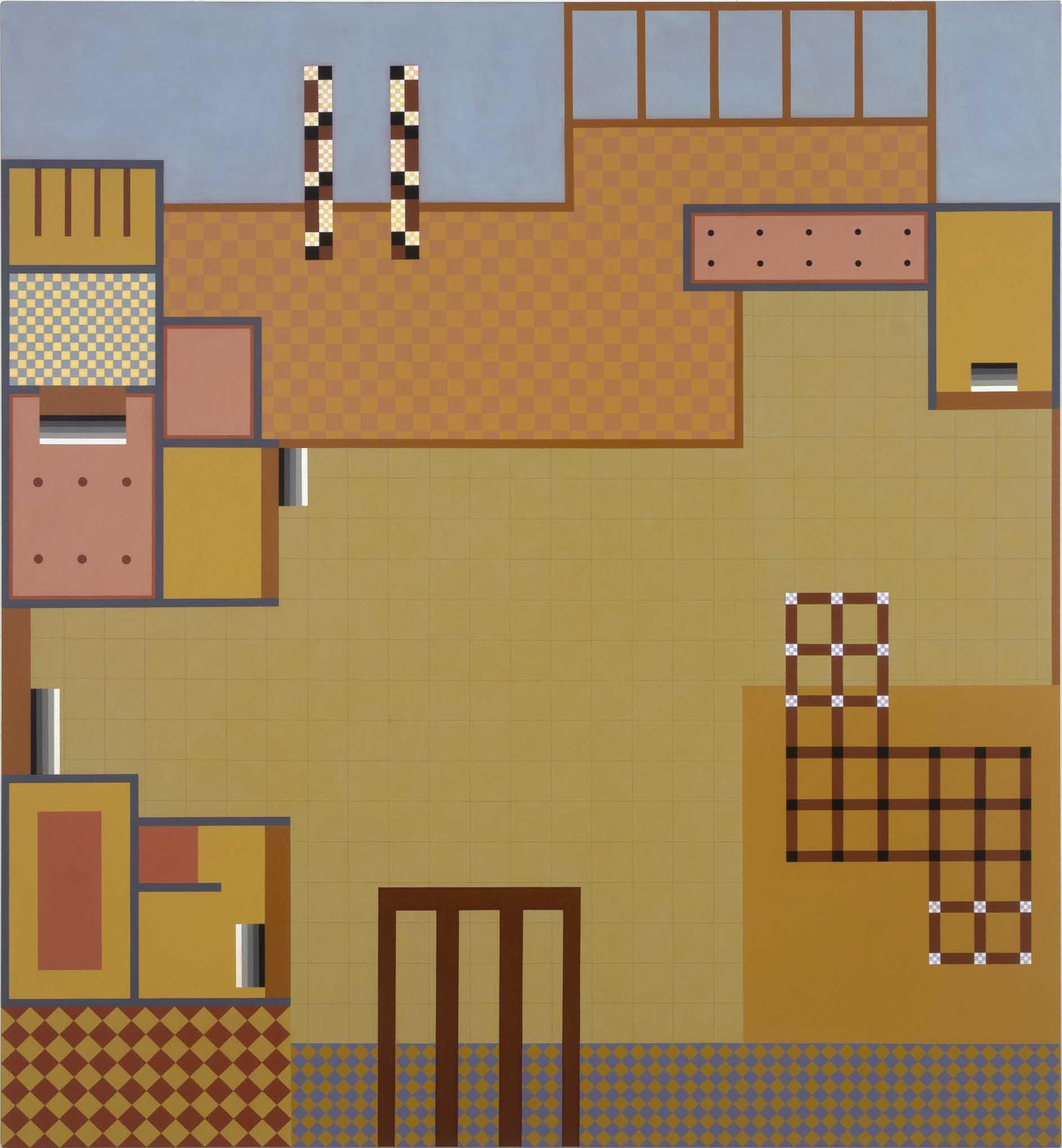 Piazza, 2015. acrylic on canvas, 198 x 183cm, $16,500