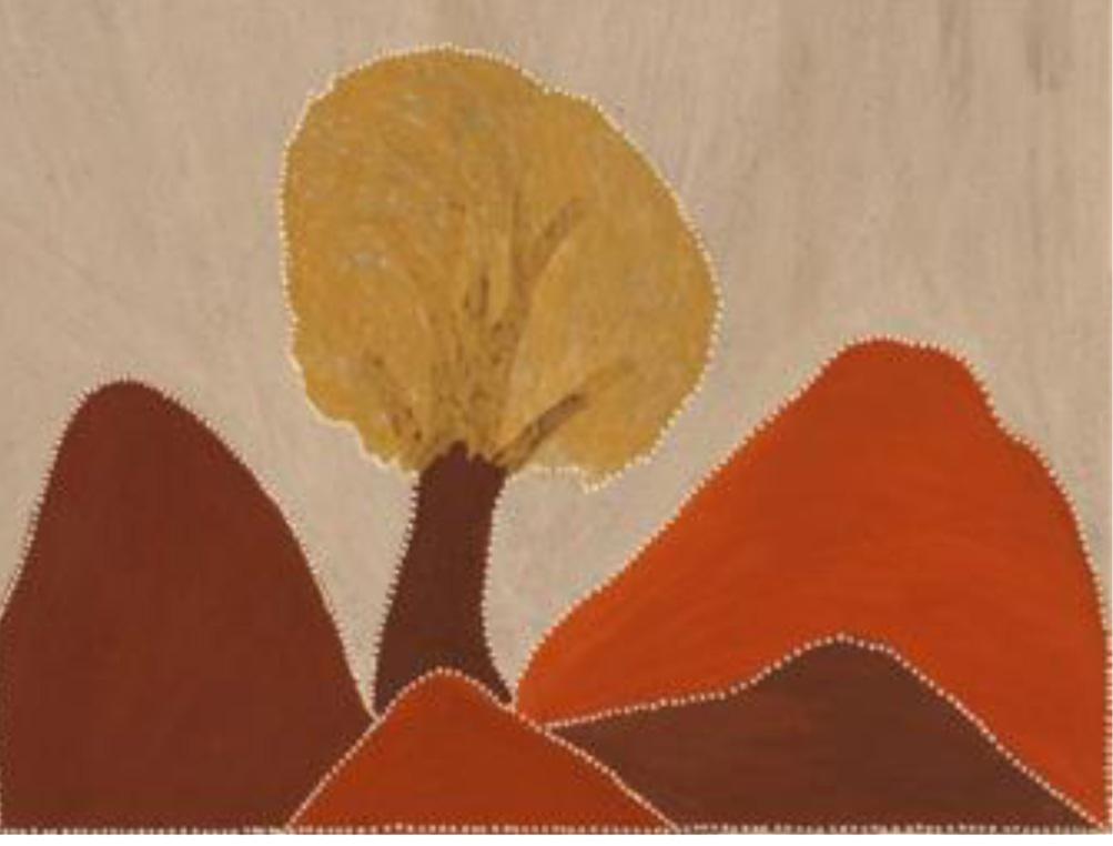 Gordon Barney. Joogoorrool (Bush Orange) - Birnoo Country. 2012  natural ochre and pigments on canvas. 90 x 120 cm. $4,000