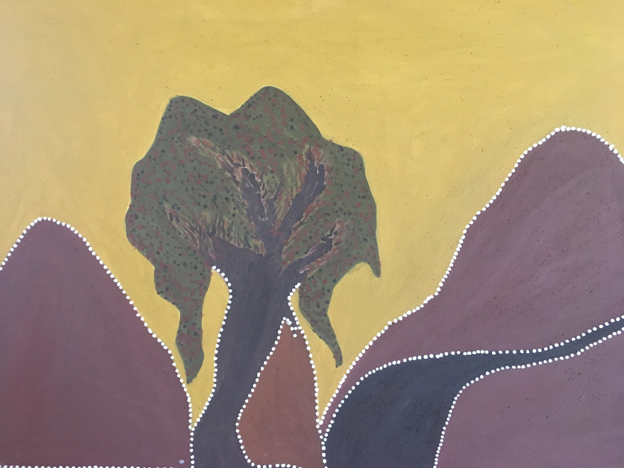 Gordon Barney. Joogoorrool (Bush Orange) - Birnoo Country. 2013  natural ochre and pigments on canvas. 90 x 120 cm. $4,000