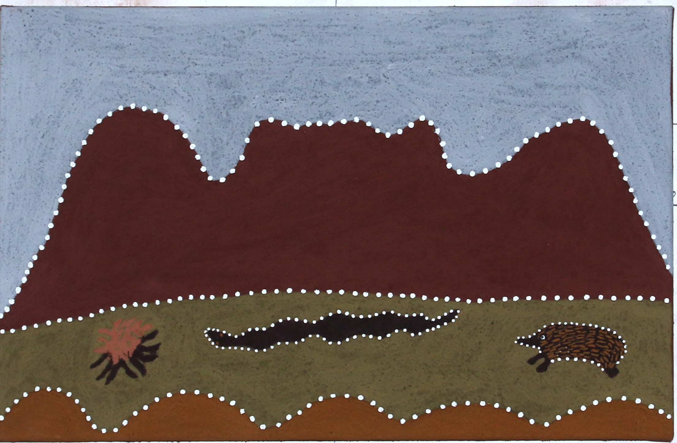 Shirley Purdie, Baggabal Gilban - Porcupine, Mabel Downs. 2018. Natural ochre and pigments on canvas. 45 x 70 cm. $1,900