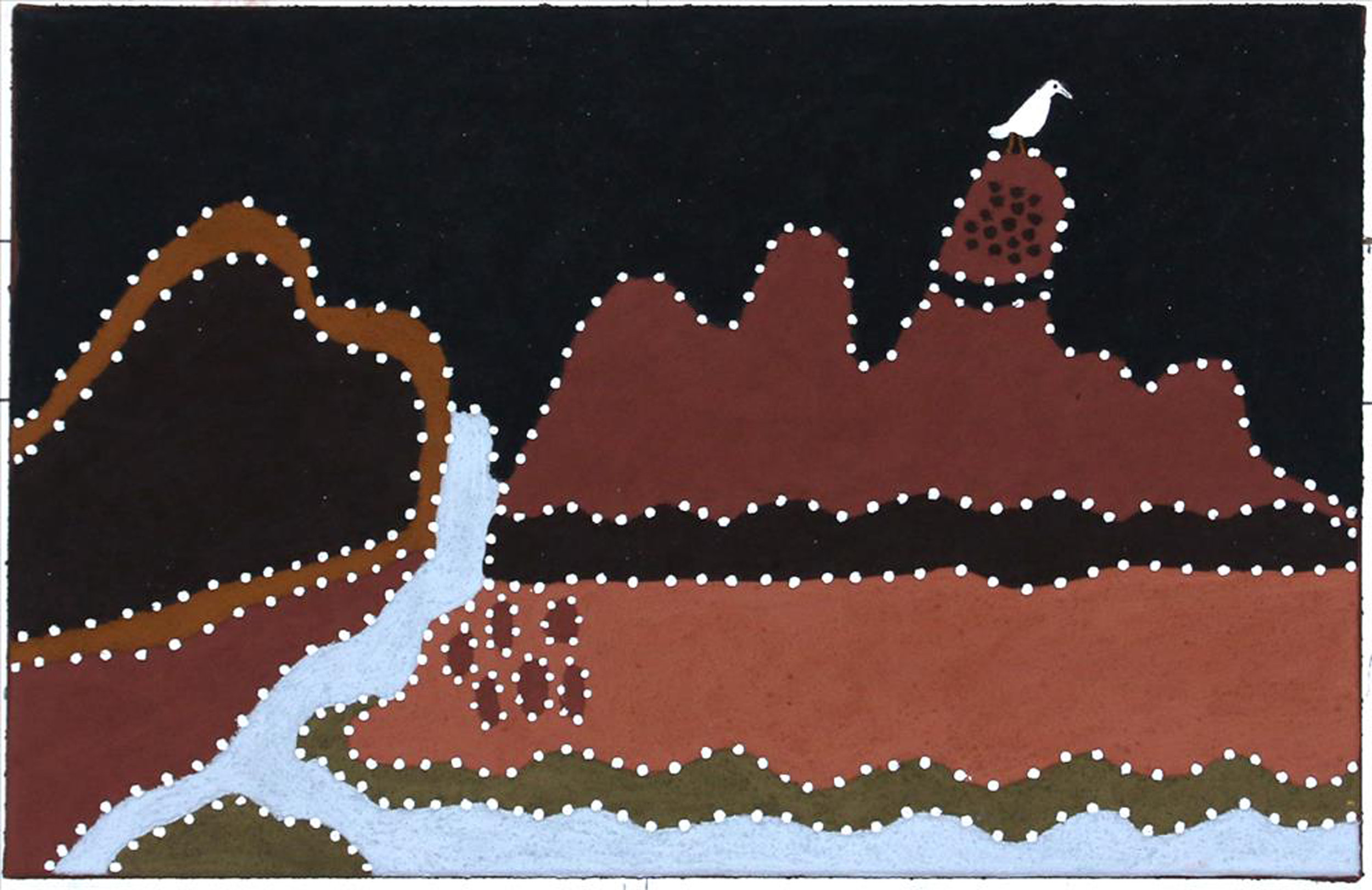 Shirley Purdie, Gyinnyan The Crane. 2018. Natural ochre and pigments on canvas. 45 x 70 cm. $1,900 SOLD