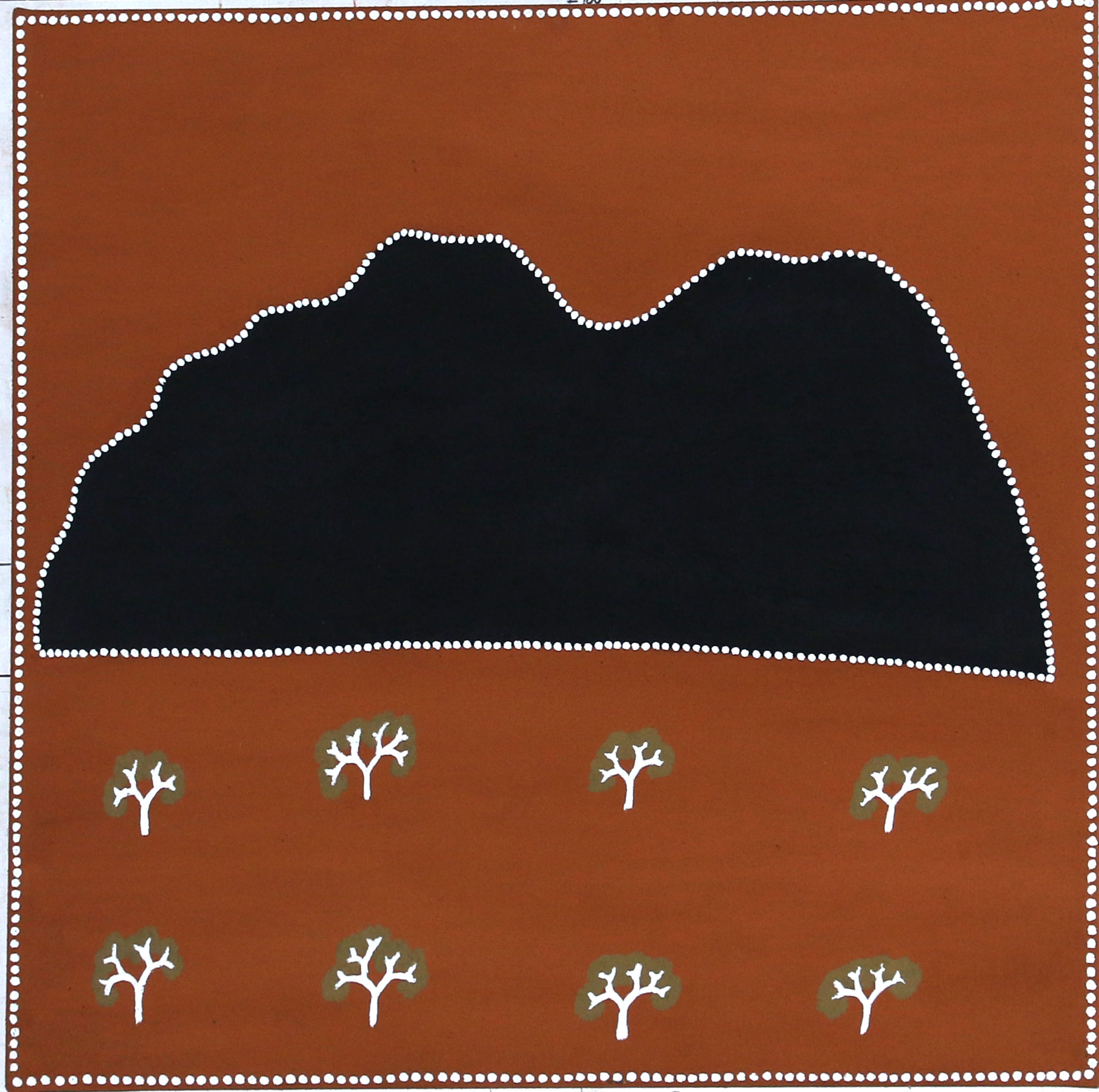 Tracey Ramsay. Black Hill. 2018. Natural ochre and pigments on canvas. 80 x 80 cm $750