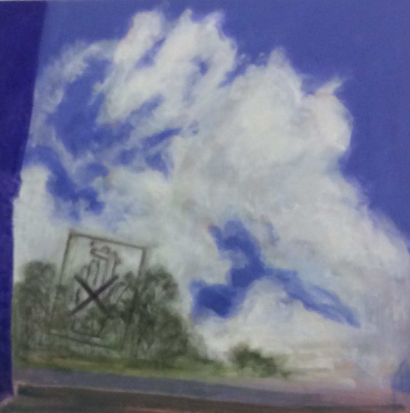 Cranky cloud. 2019 Acrylic on birch wood panel. 40 x 40 cm. $3,000