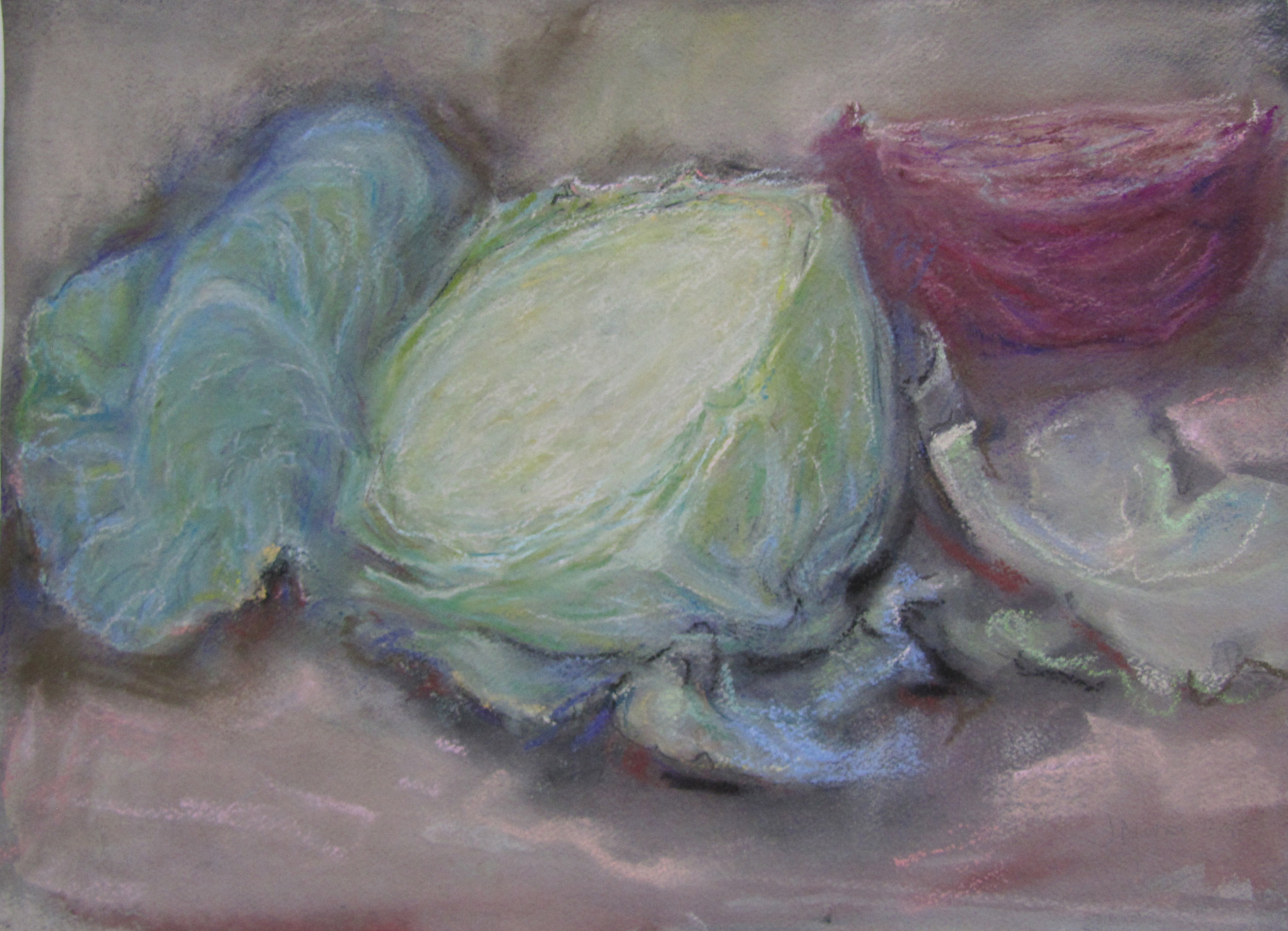 Half cut green cabbage. 2008-15. Watercolour and pastel. 26 x 35.8 cm.$2,800