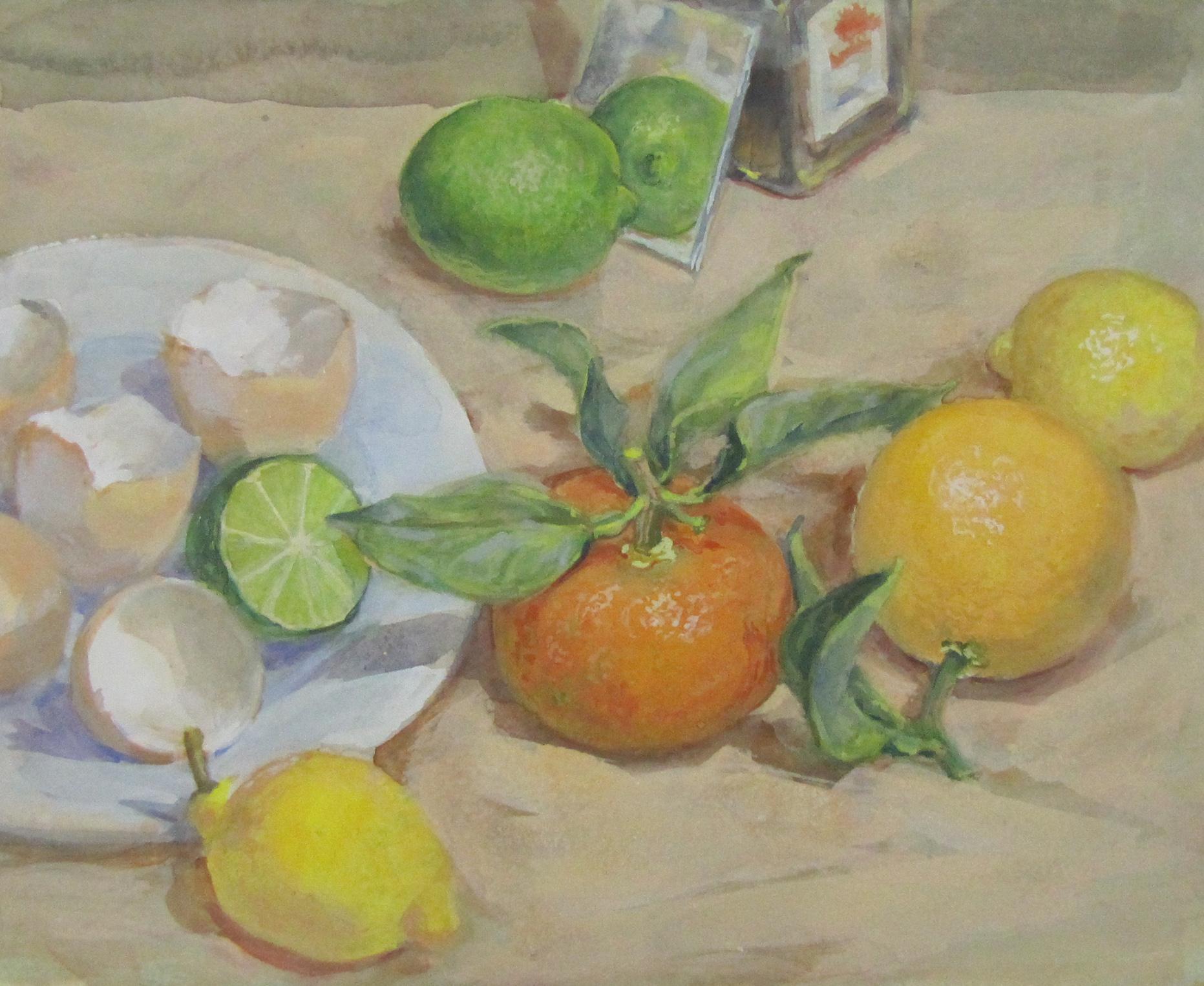 Oranges, lemons, limes, eggshells. 2001. Watercolour, gouache on Arches paper. 20.3 x 25 cm.$2,200