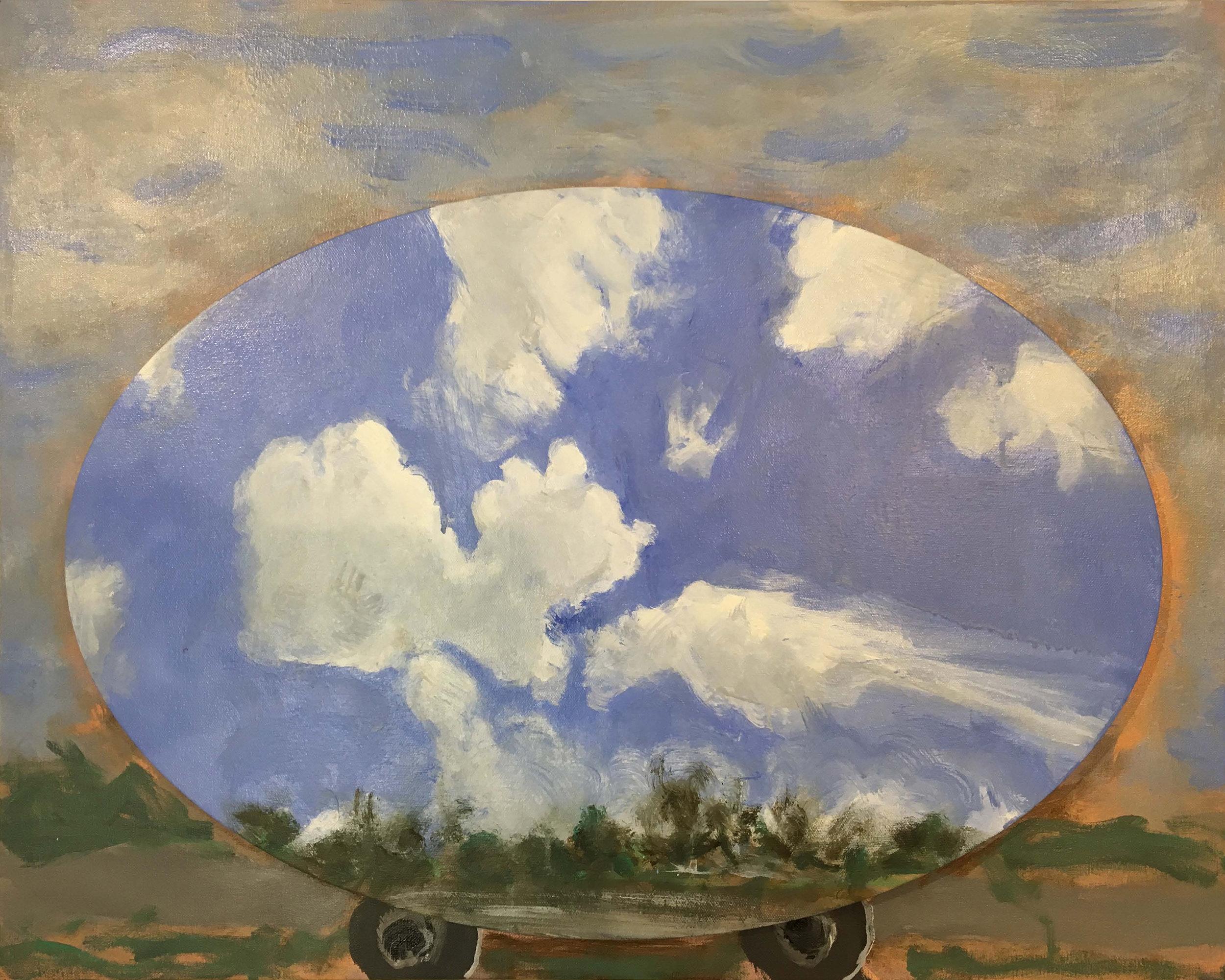 Cloud Comics No.1. 2019.  Acrylic on canvas. 61 x 76 cm. (two panels) $5,500