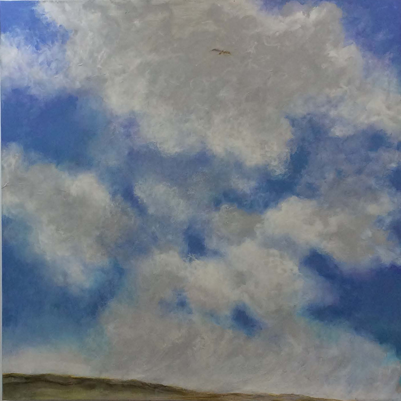 Hawk and the Cloud. 2014-19.  Acrylic and oil on canvas. 120 x 121 cm. $15,000