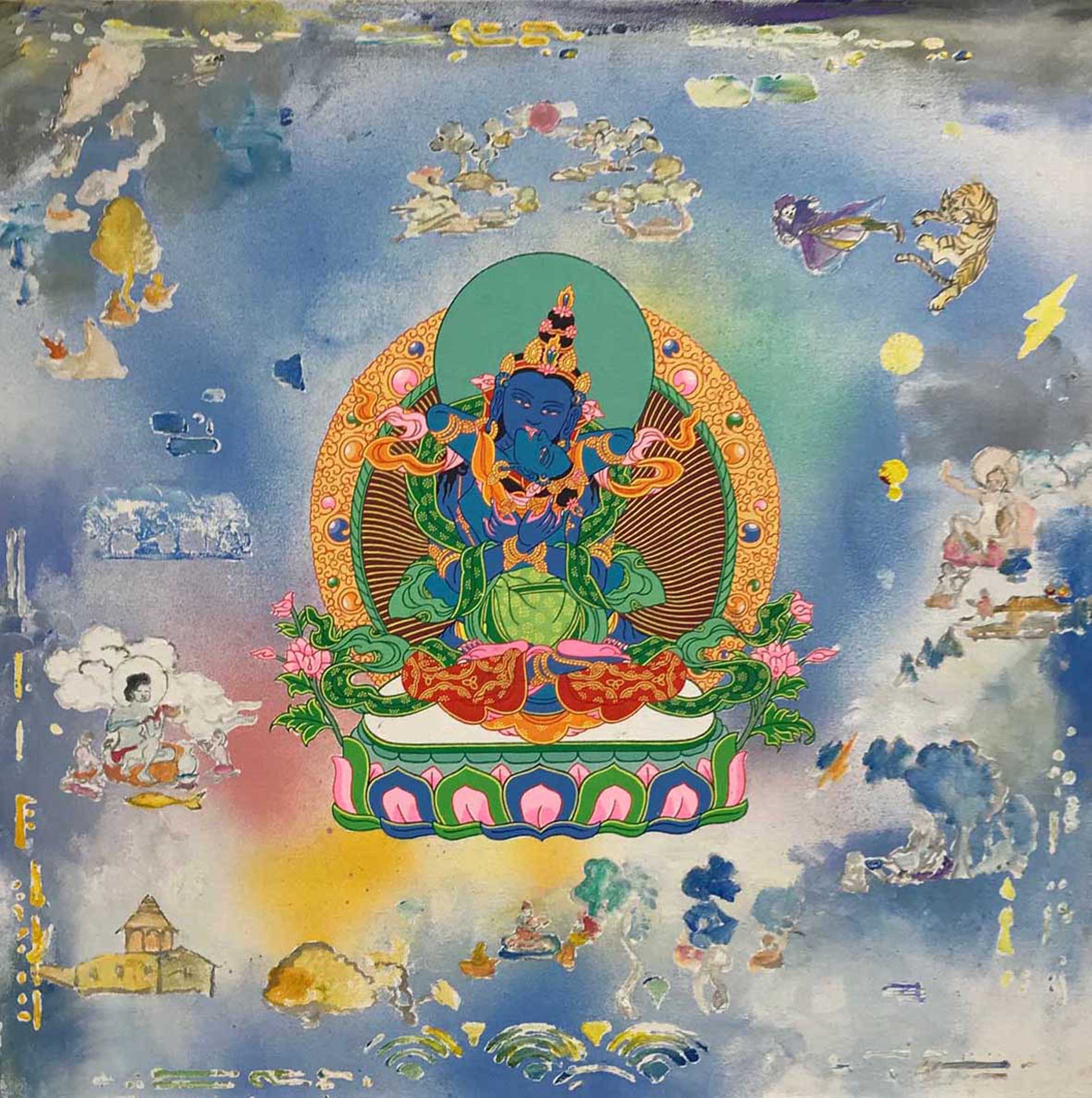 Vayradhara with consort. 2019. Acrylic on canvas (with Daniel Bogunovic). 61 x 61 cm $2,000