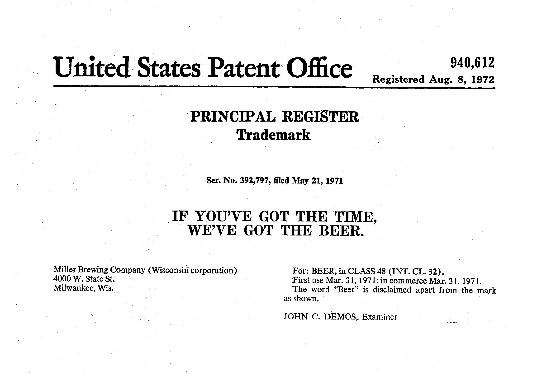 United States Patent Office Principal Register