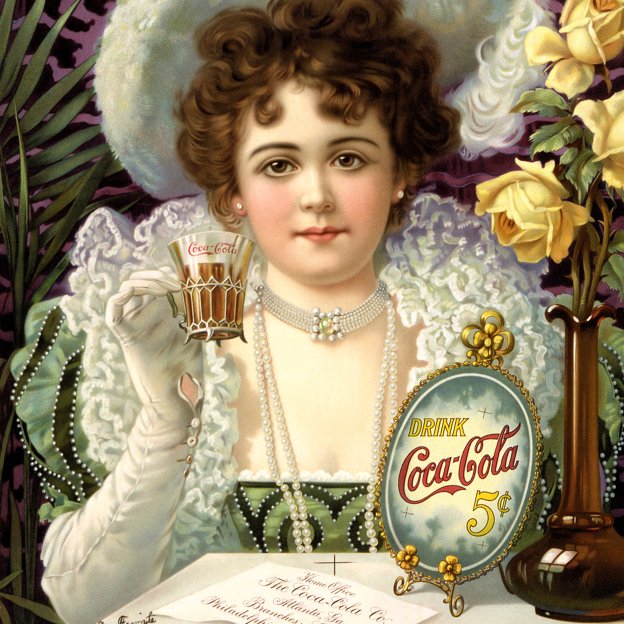 By Artist not credited.  derivative work (restoration): Victorrocha (talk) Cocacola-5cents-1900.jpg: ' [Public domain], via Wikimedia Commons