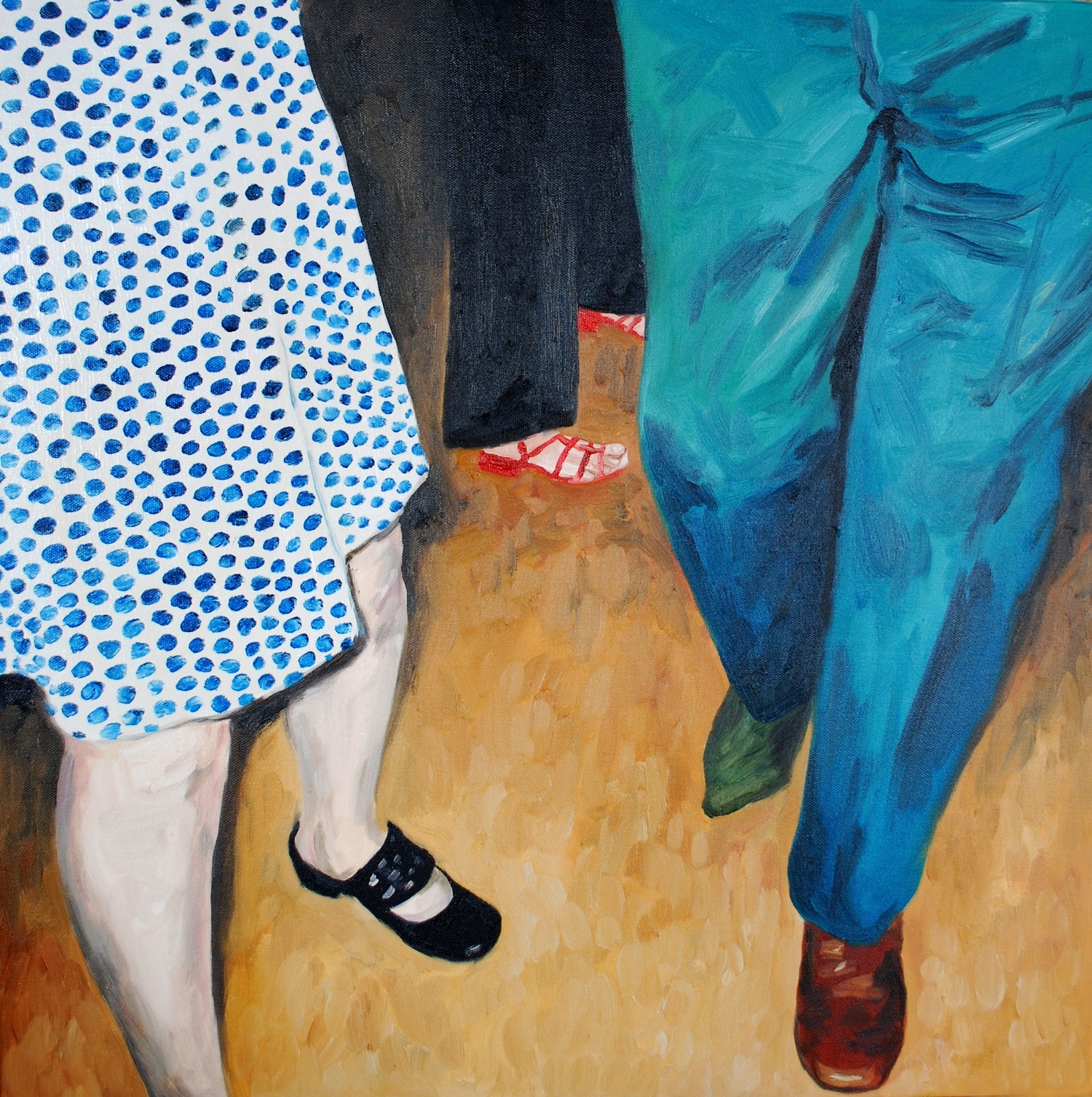 """dancing trio, missing sock . oil on canvas, 24"""" x 24"""""""