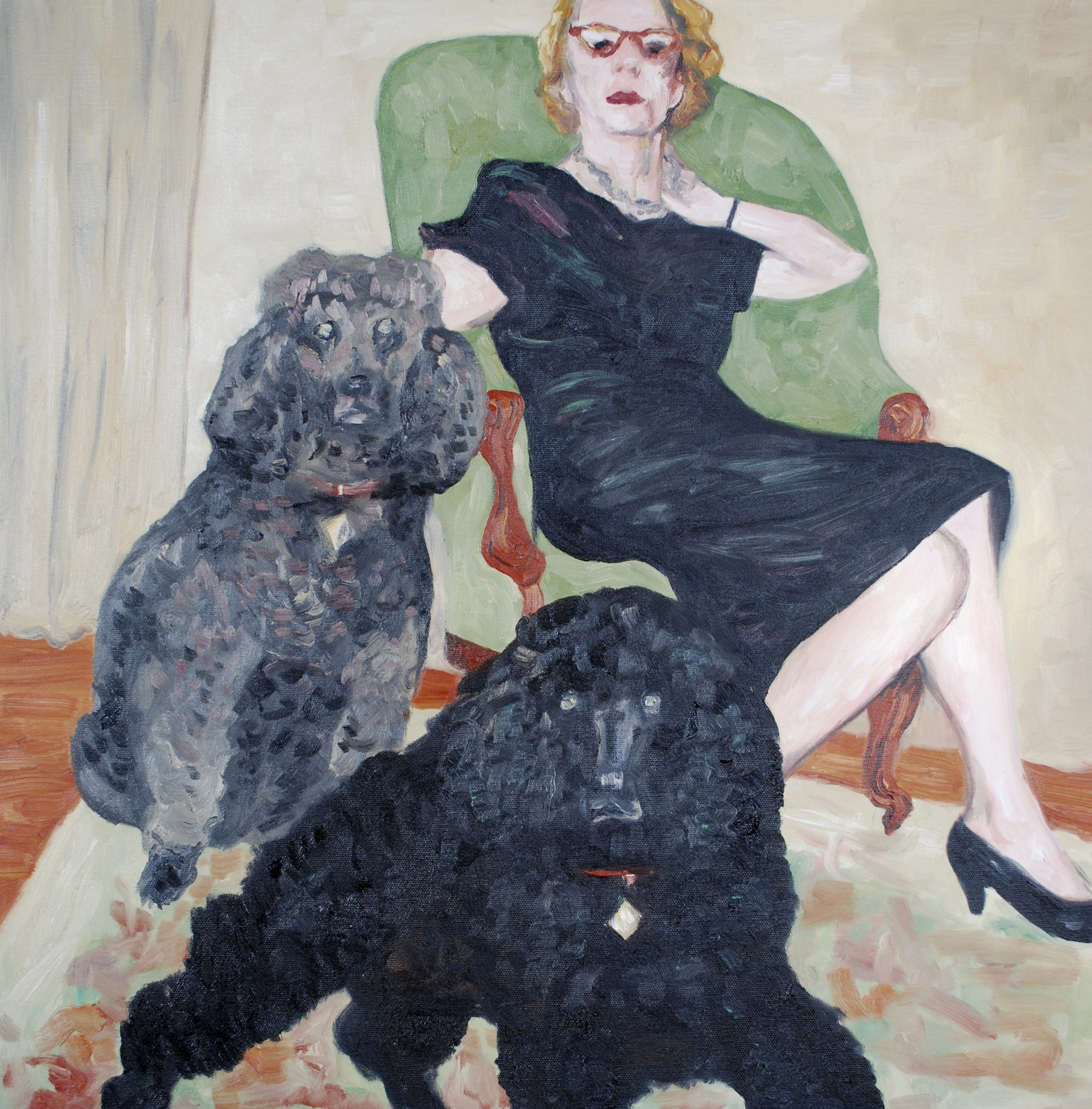 """woman with two poodles, oil on canvas, 24""""x24"""""""