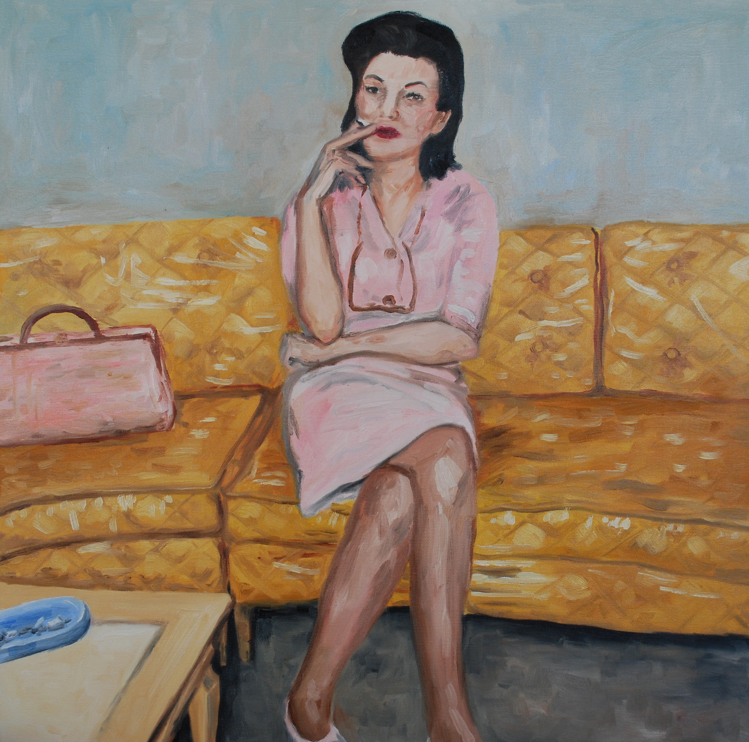 """woman on plastic covered couch, oil on canvas, 24"""" x 24"""""""