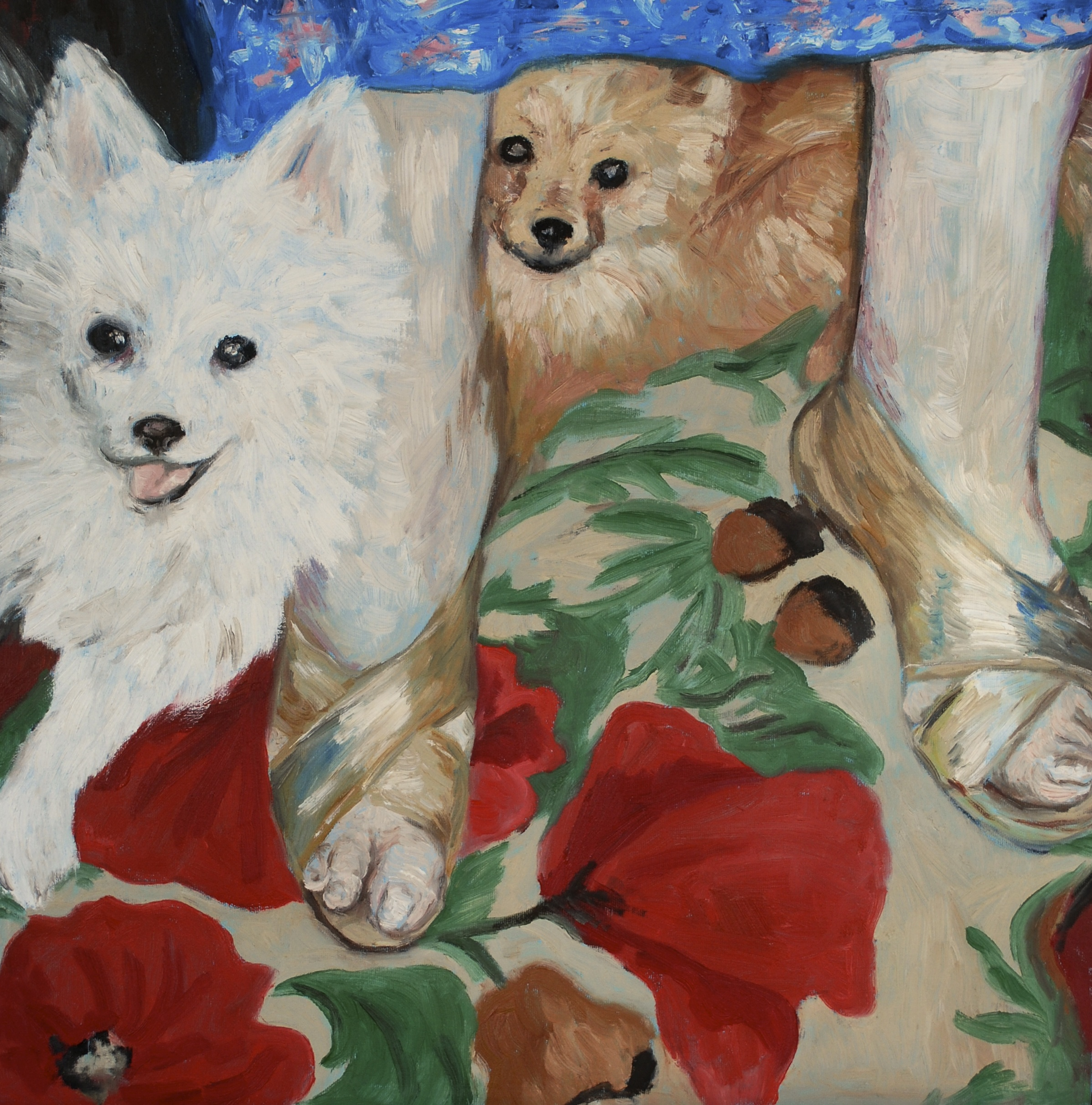 """elderly feet with dogs, oil on canvas, 20""""x20"""""""