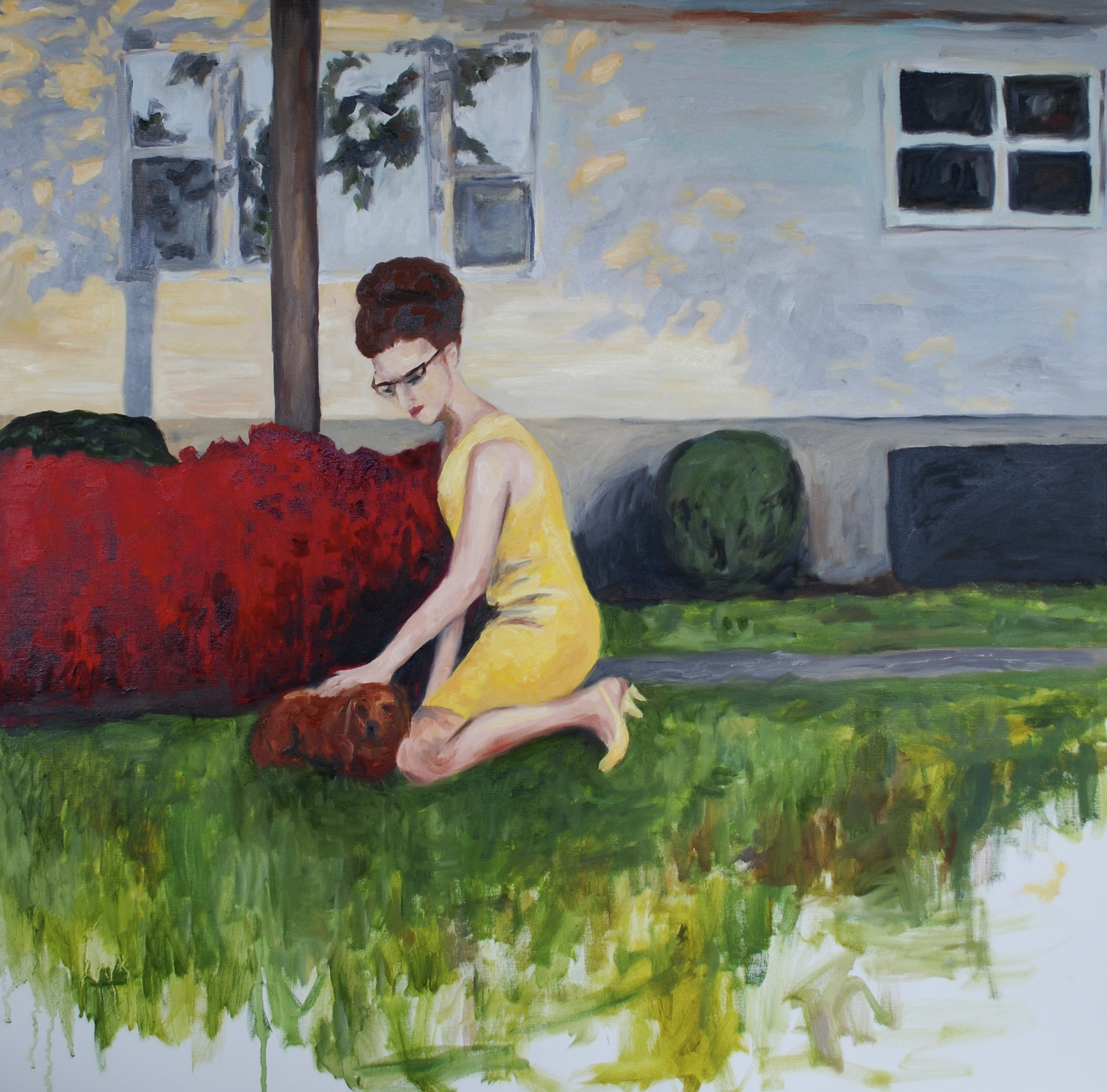 """beehive and dog in yard, oil on canvas, 36""""x36"""""""