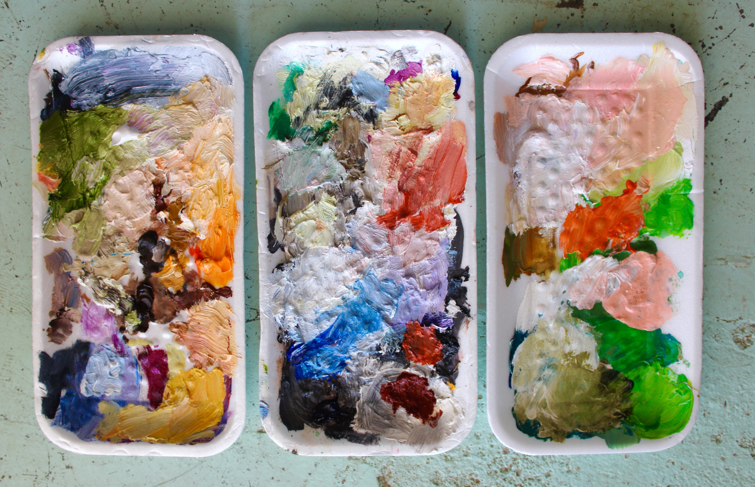 I usually use various food containers as palettes (here's several that used to house shiitake mushrooms from Trader Joe's).