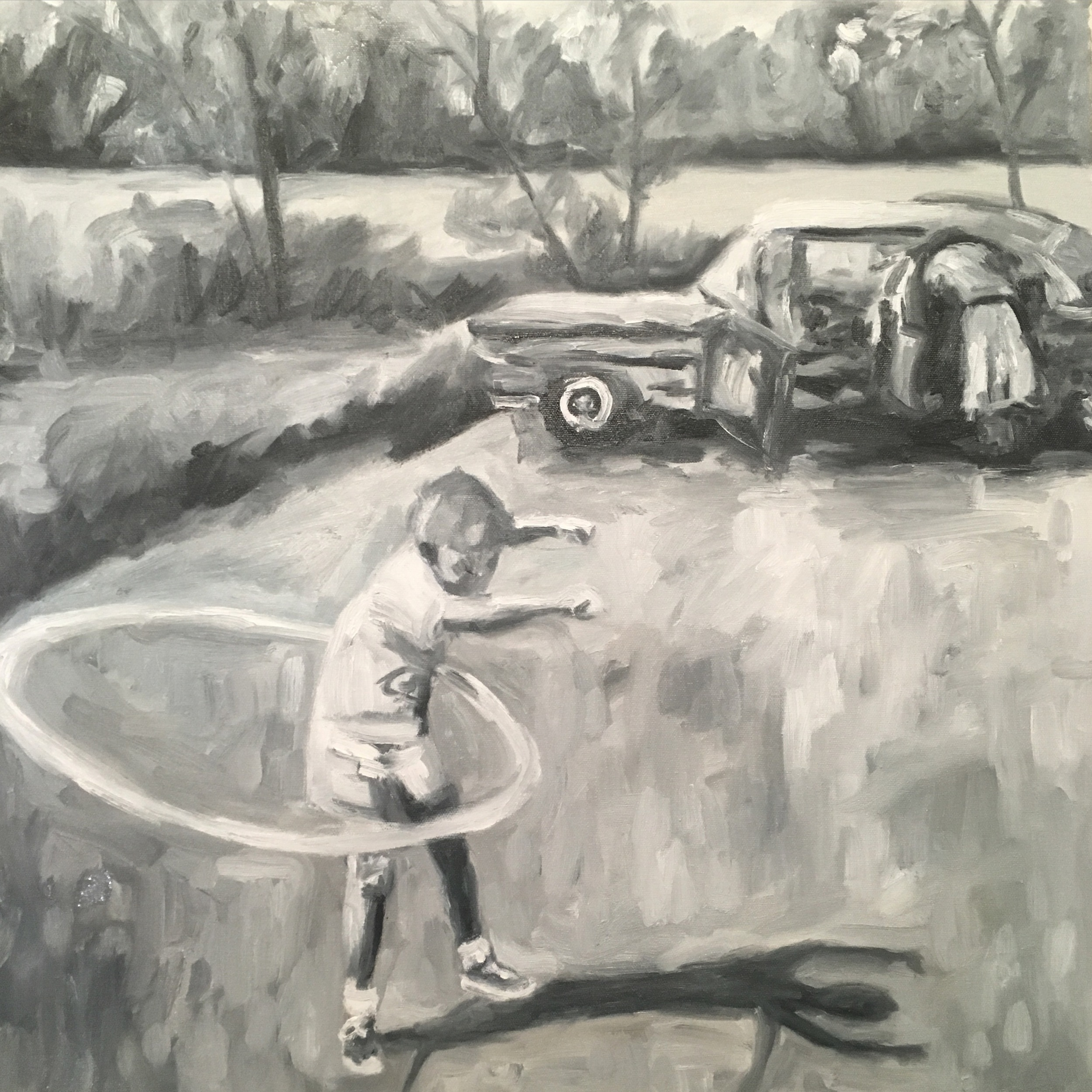 "hula hoop boy, oil, 24""x 24"""
