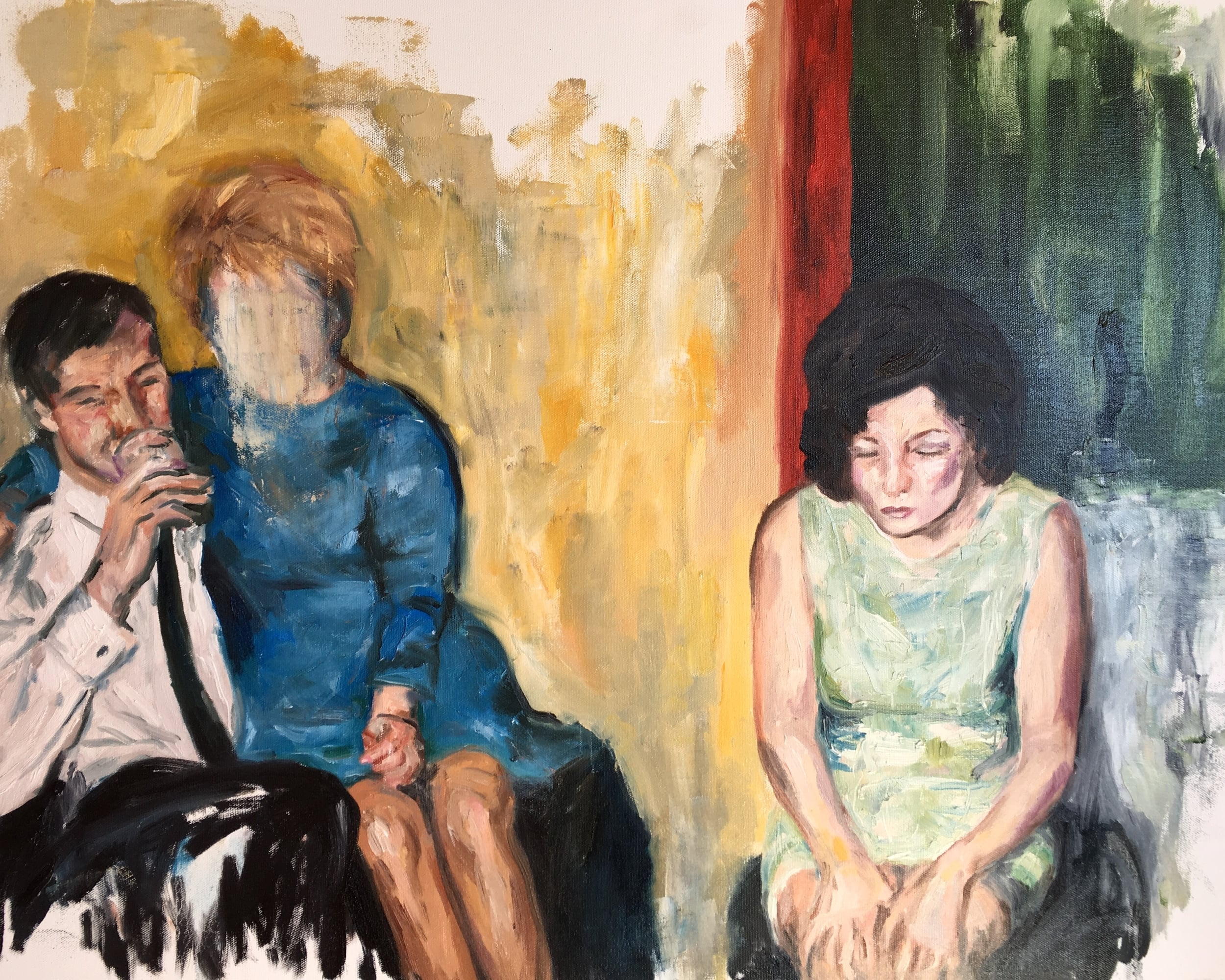 """party over, 24"""" x 30"""", oil on canvas"""