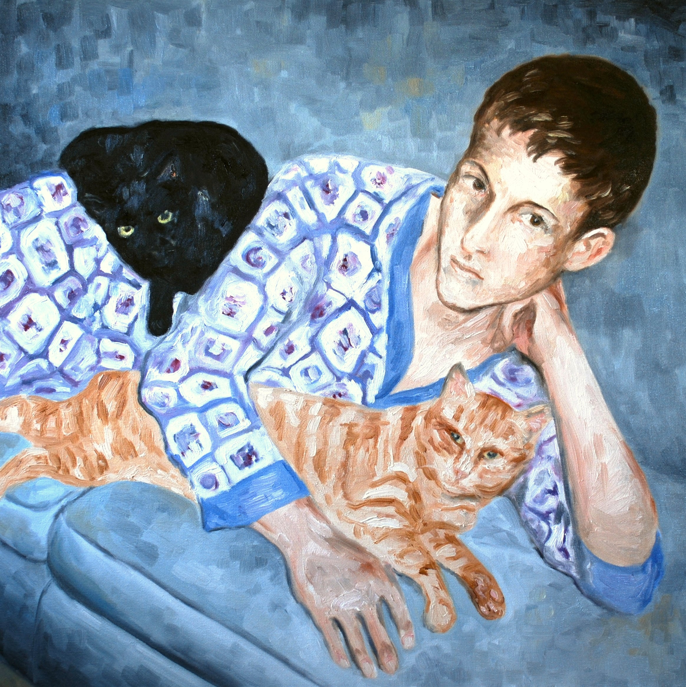 "boy with cat, oil, 24""x24"""