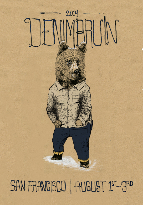 Denim Bruin is a 3 day event hosted in San Francisco. This event celebrates small makers creating and making goods in the US. This year I had the honor of creating the poster for the event. The bear which represents the state animal of California wears garments that we will be celebrating. I have drawn from a worn in Masterson shirt and a pair of Ubi Jeans.