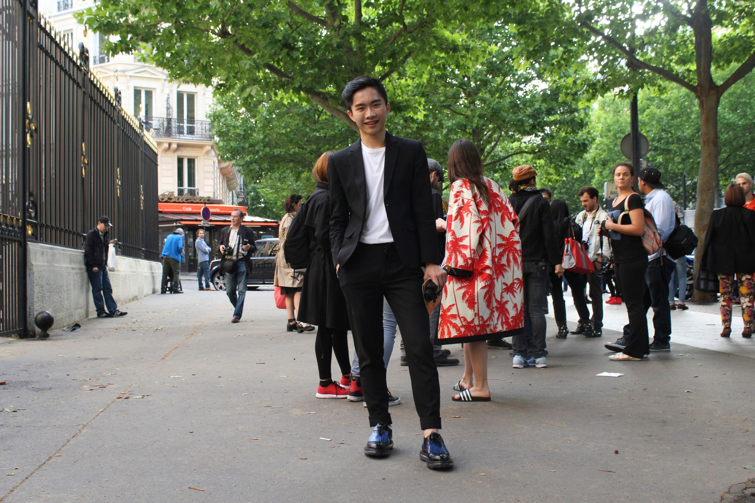 Outside the Versace show