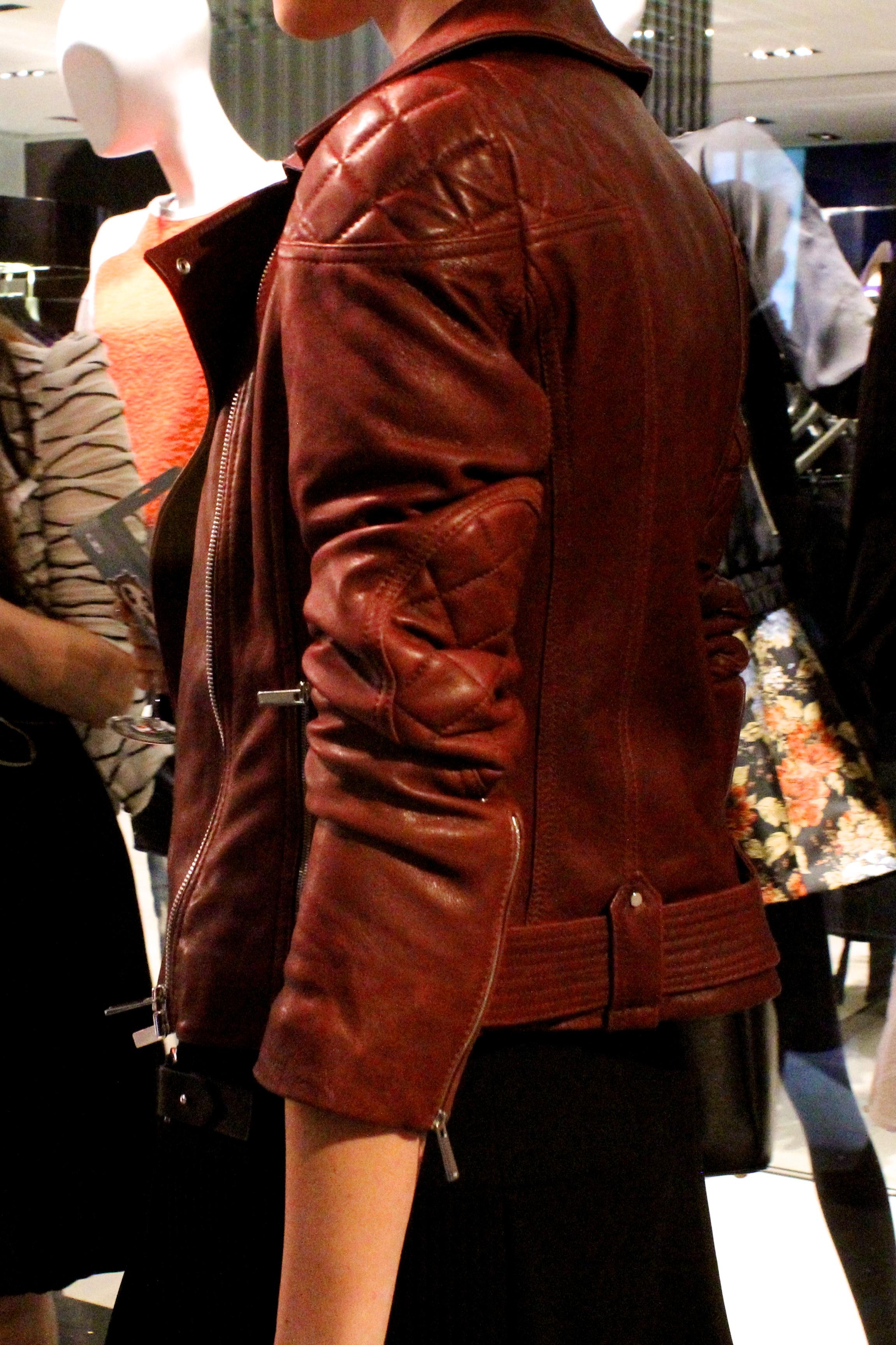 Jacket:  S  ignature leather biker jacket