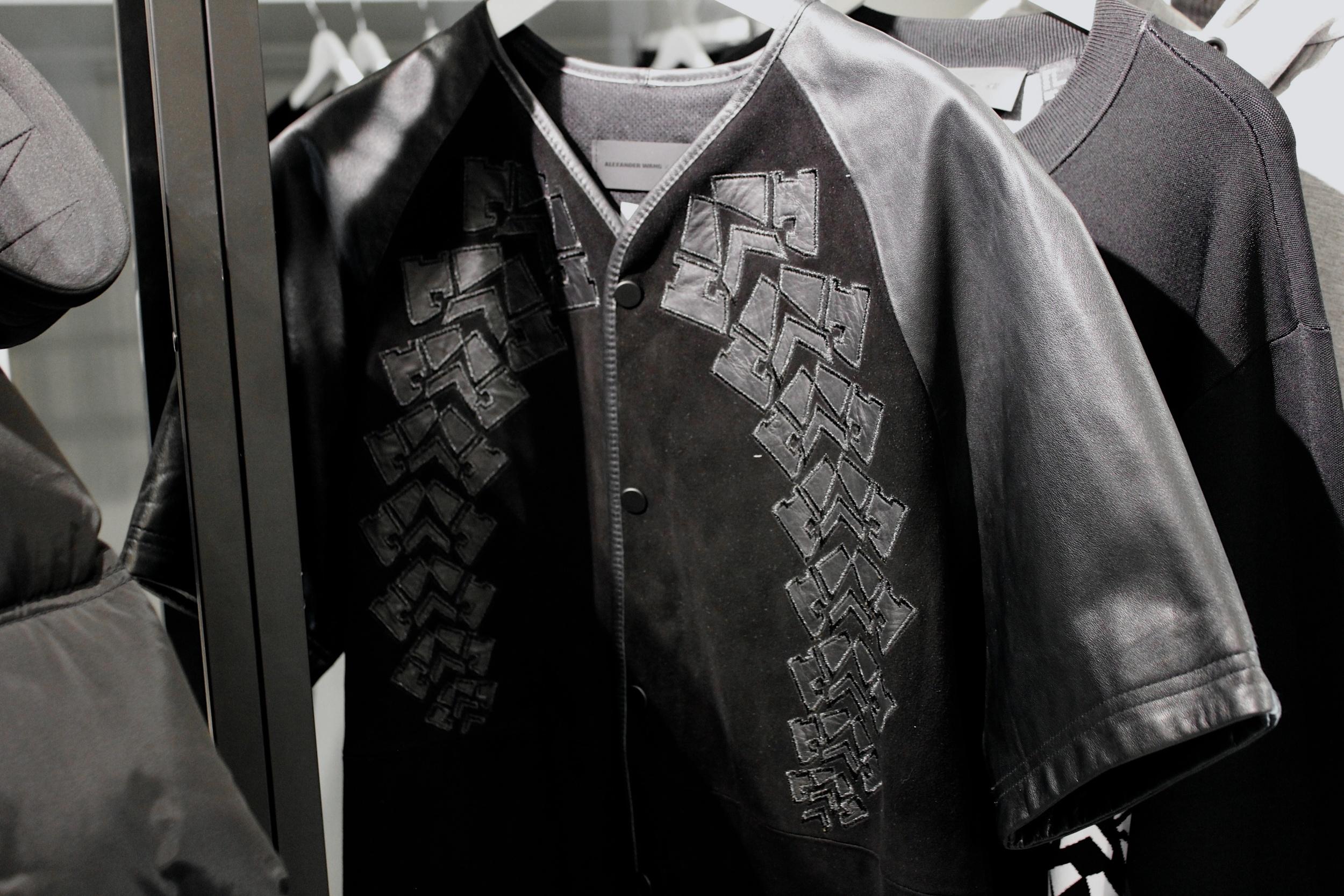 Appliquéd leather baseball shirt