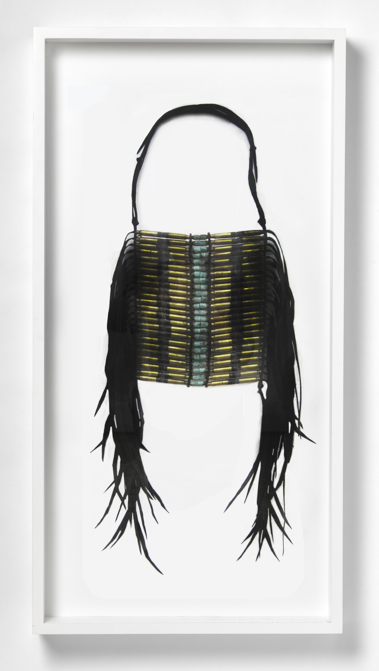 Dave Cole-Breastplate (after Oglala Lakota artifact, date unknown, from a photograph dated 1877)-2013-Military Surplus Gasketing, Butyl Rubber, Military Cartridges, Recovered Projectiles-41x21x3.75-framed.jpg