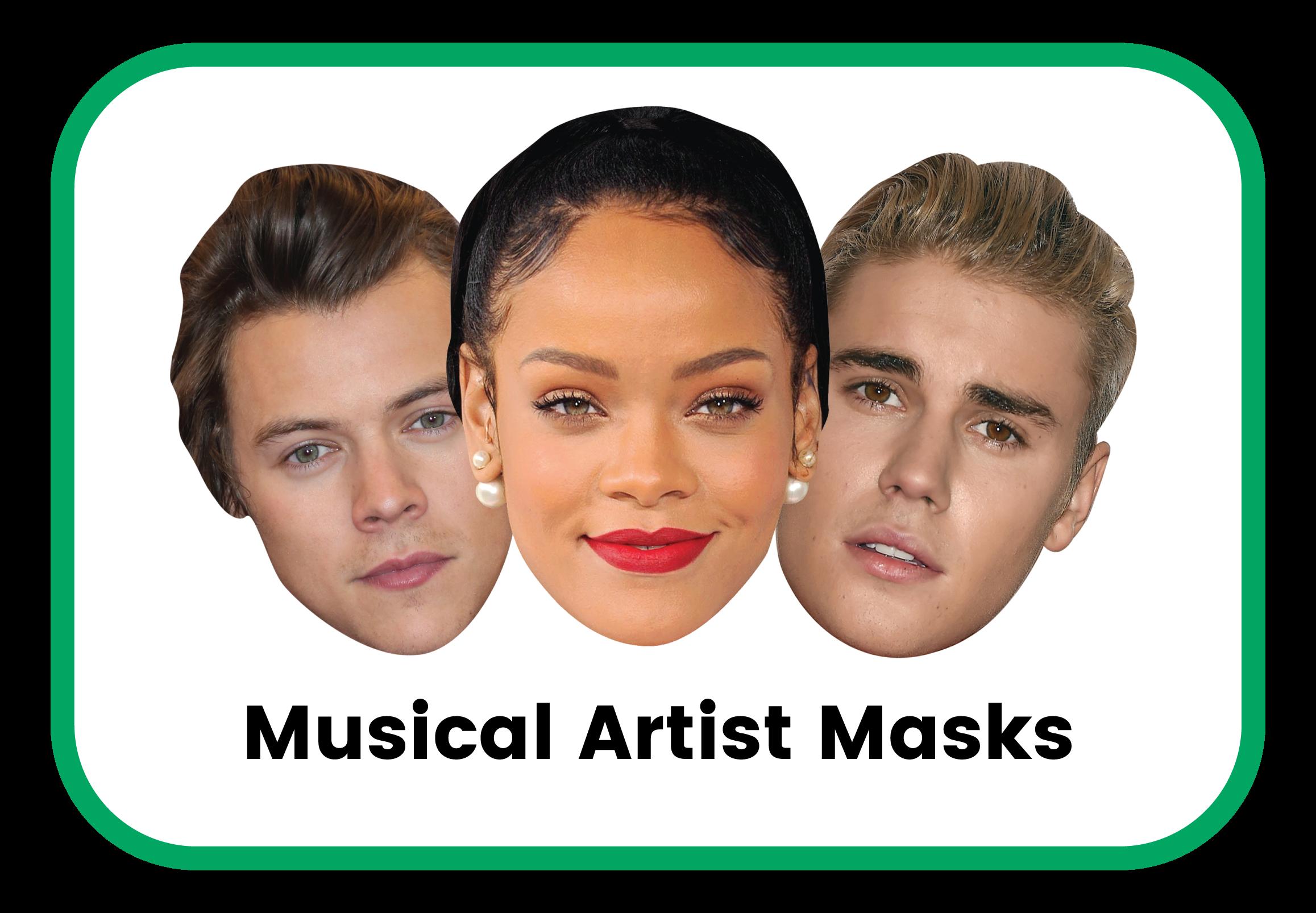 Musical artist cardboard masks